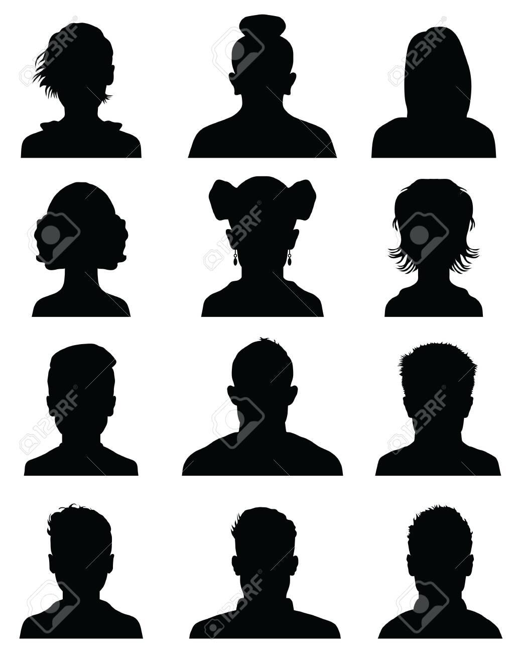 Male and female head silhouettes avatar, profile icons - 121001846