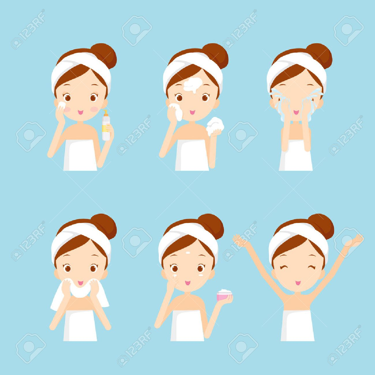 Girl cleaning and care her face with various actions set, facial, treatment, beauty, healthy, hygiene, lifestyle, set - 53424192