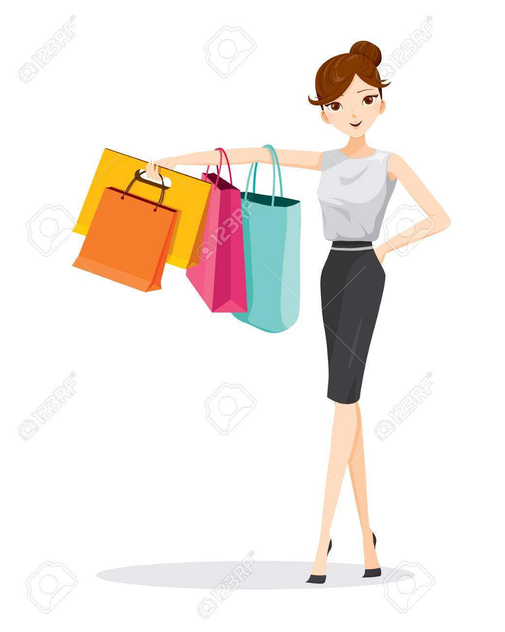 Woman hanging shopping bags on her arm, goods, food, beverage, beauty, lifestyle Foto de archivo - 53424256