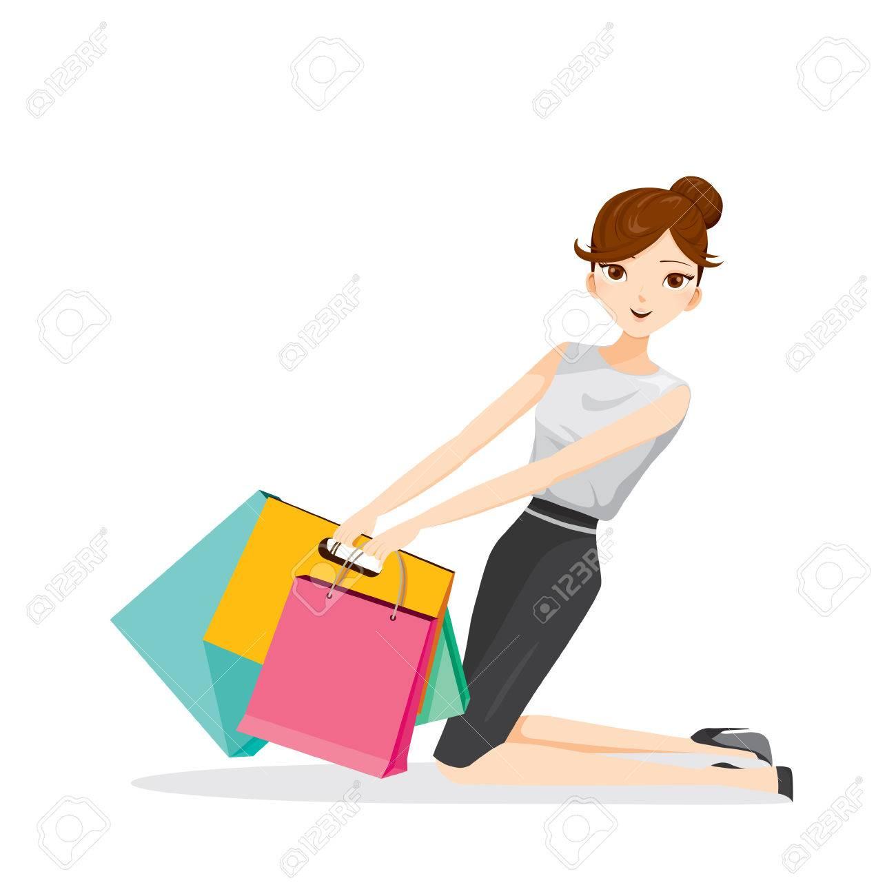 Colgante de la mujer bolsas de la compra en su brazo, mercancías, alimentos, bebidas, belleza, estilo de vida
