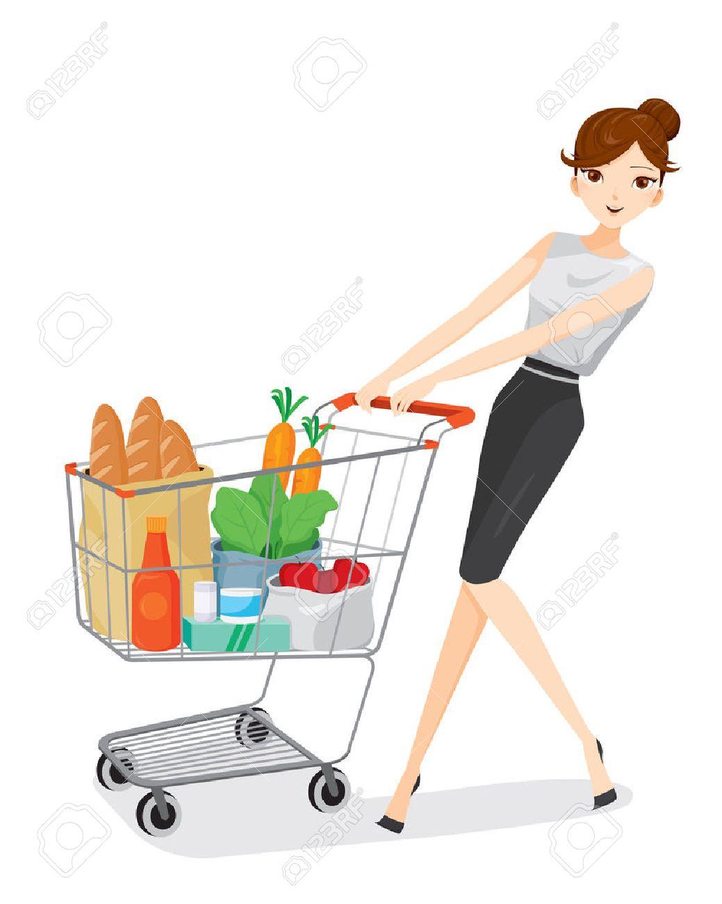 Woman pushing shopping cart, goods, food, beverage, beauty, lifestyle Foto de archivo - 53424261
