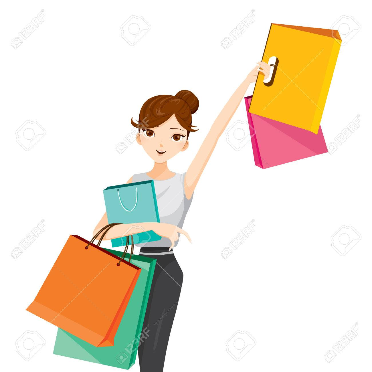 Woman raises her arm, hanging shopping bags, goods, food, beverage, beauty, lifestyle Foto de archivo - 53424262