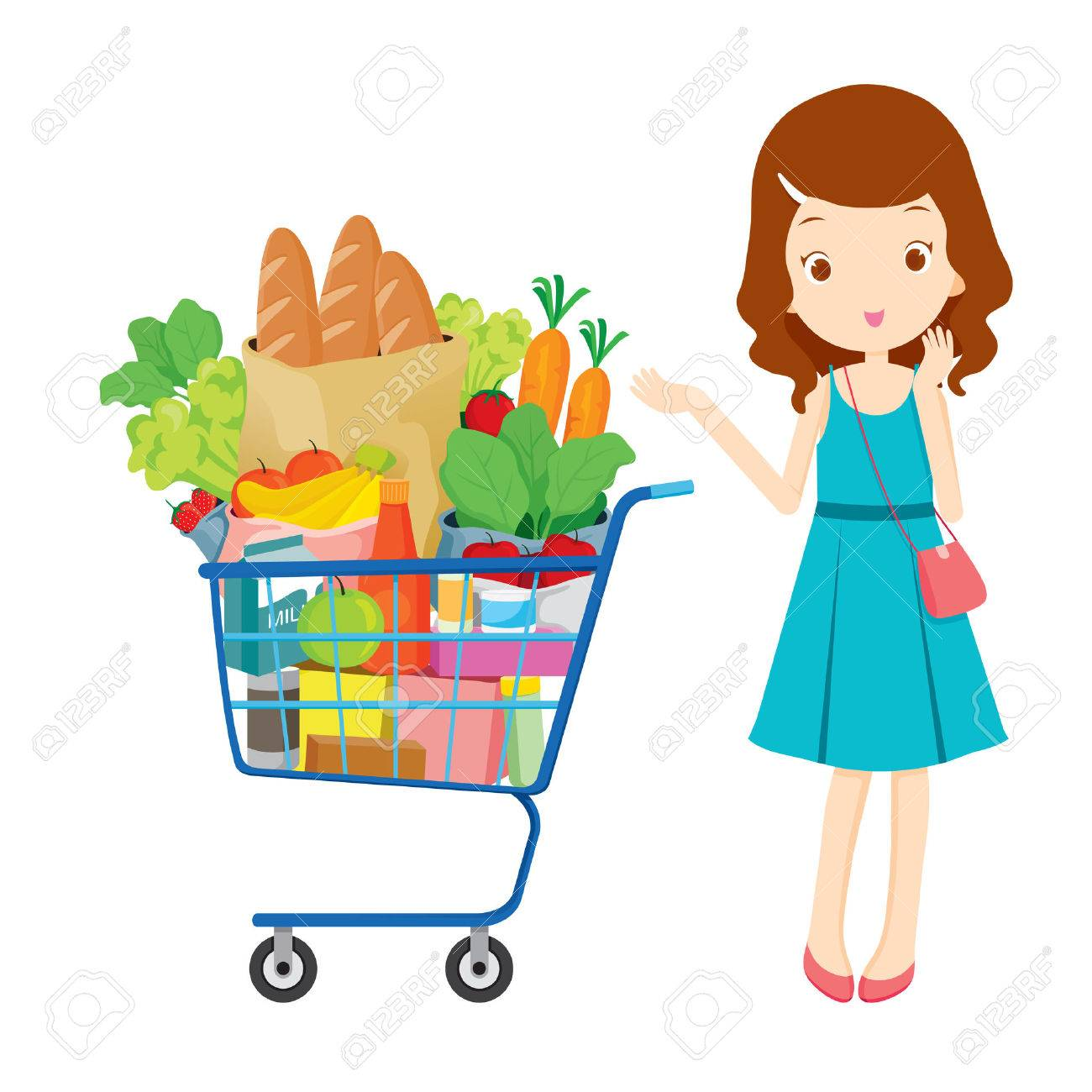 Girl and shopping cart full of eating, goods, food, beverage, beauty, lifestyle - 53424271