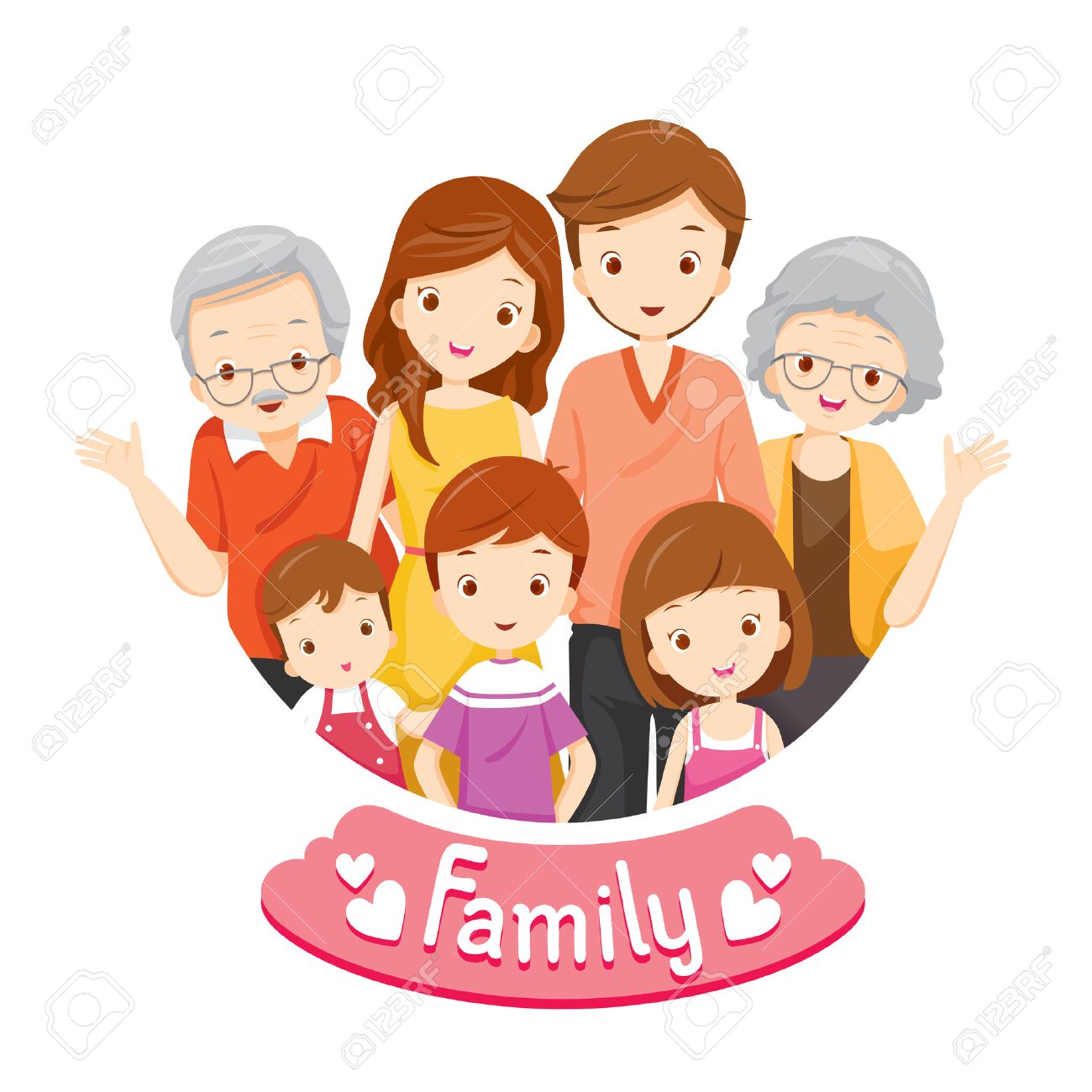 Happy Family Portrait, Relationship, Togetherness, Vacations, Holiday, Lifestyle - 54343458