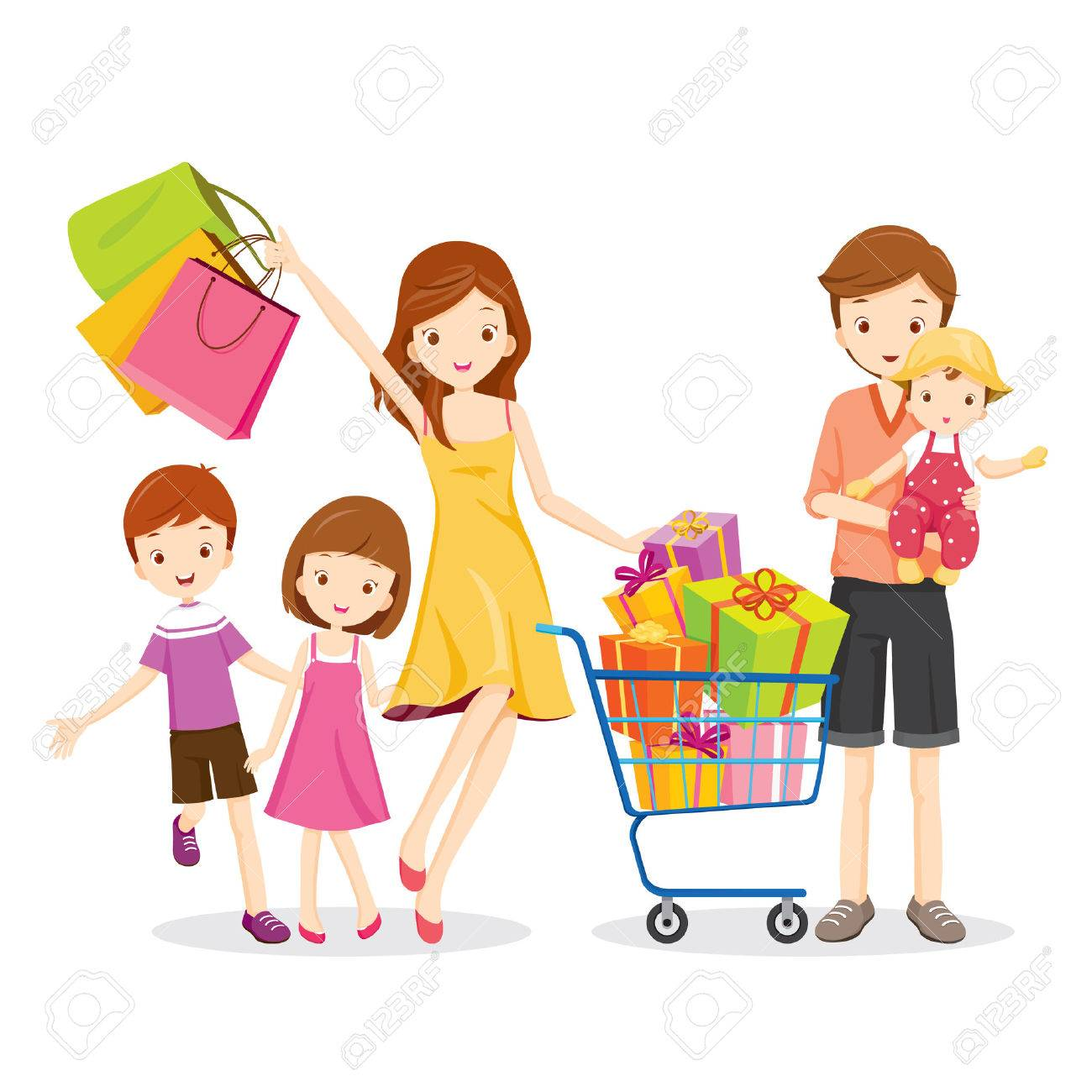 Family Shopping and Gift Box in Shopping Cart, Goods, Celebration, lifestyle, Relationship, Togetherness Foto de archivo - 54343461