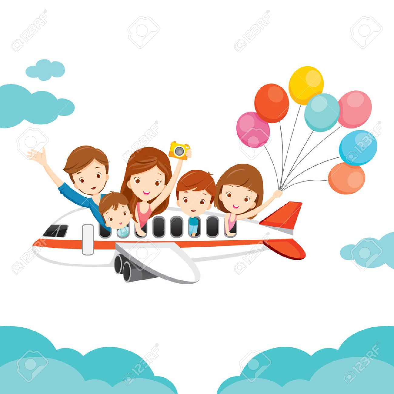 Family Happy on Airplane, Vacations, Holiday, Travel Destination, Journey Trips, Transportation - 54343467