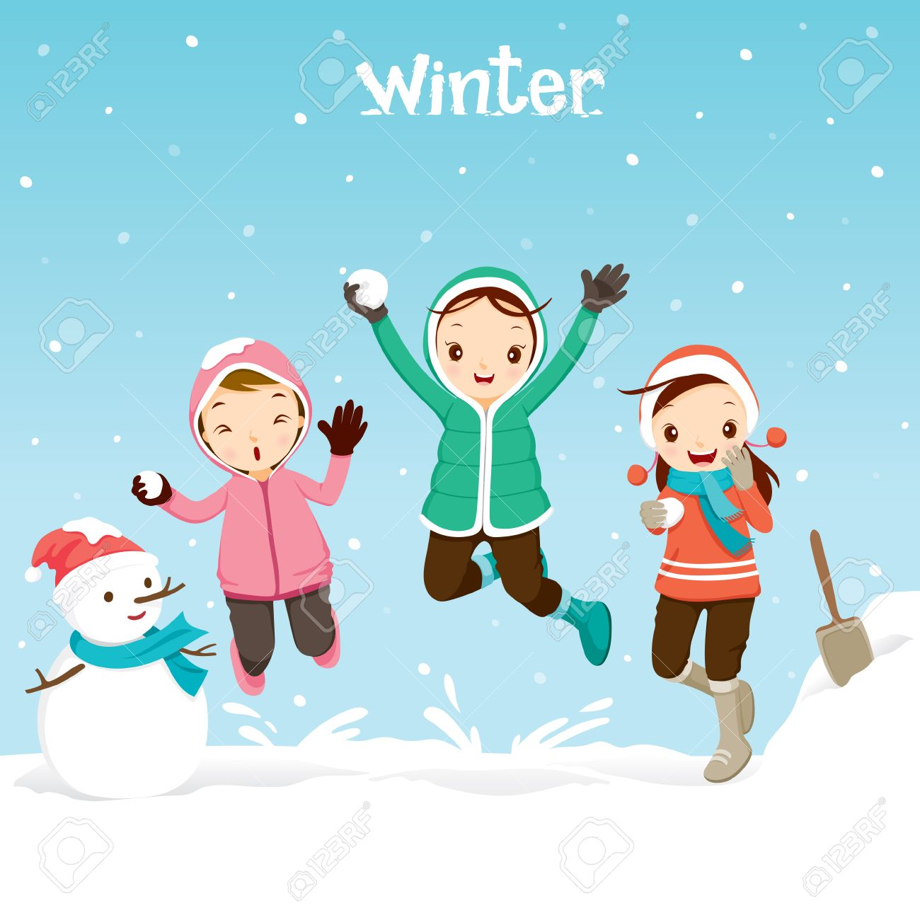 Children Playing Snow Together, Activity, Travel, Winter, Season,