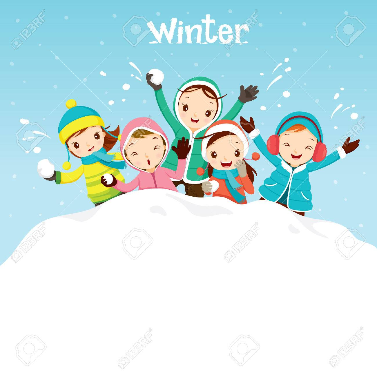 Children Playing Snow Together, Activity, Travel, Winter, Season, Vacation, holiday, Nature, Object - 54345878