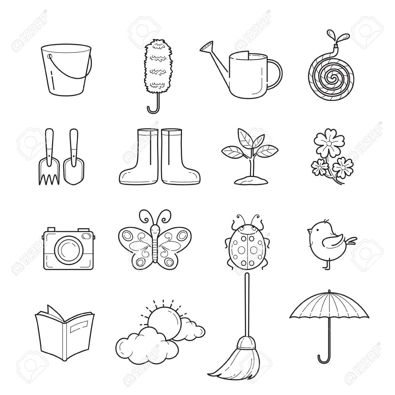 Spring outline icons set gardening housework appliance spring outline icons set gardening housework appliance domestic tools computer icon biocorpaavc