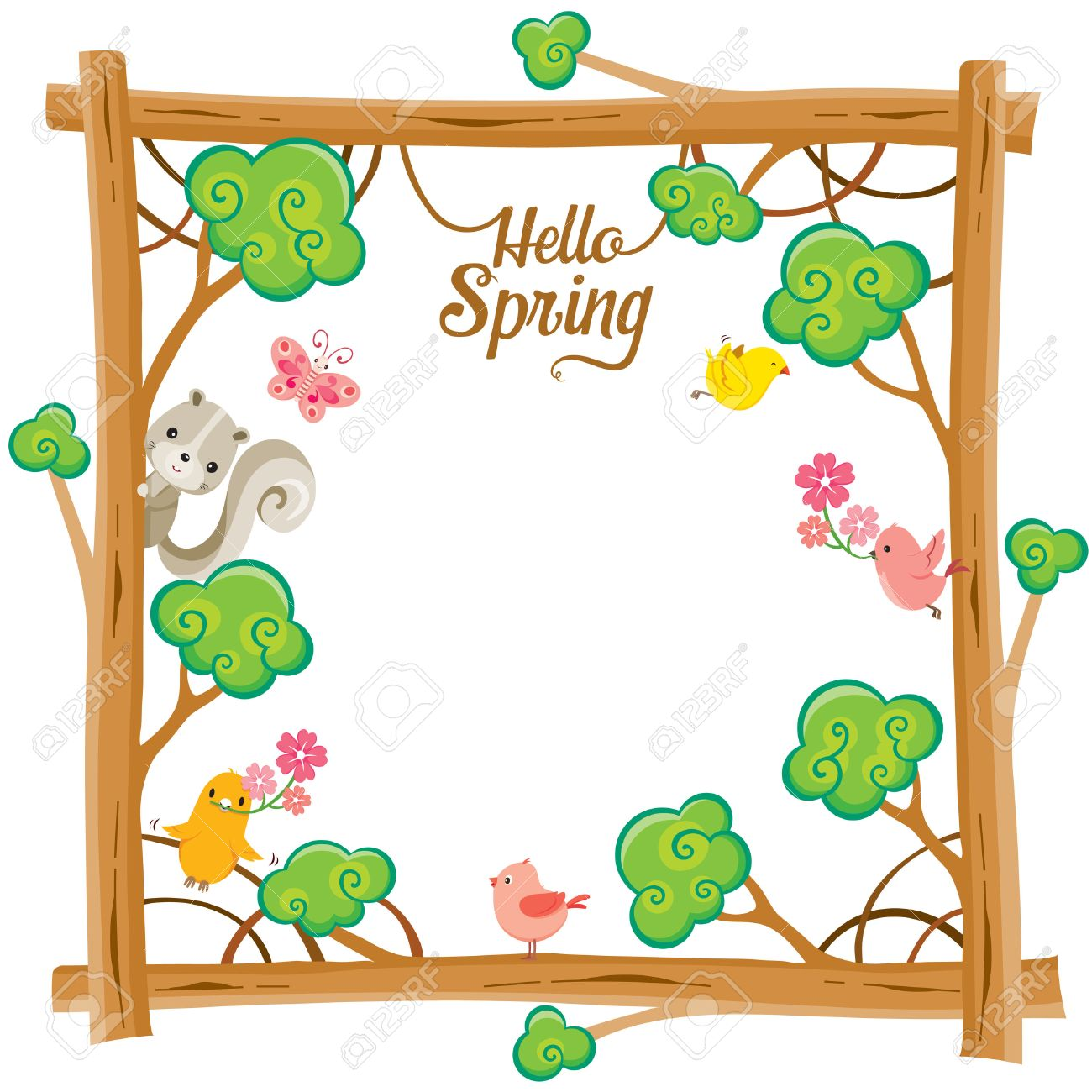 tree with animal on square frame spring season lettering rh 123rf com