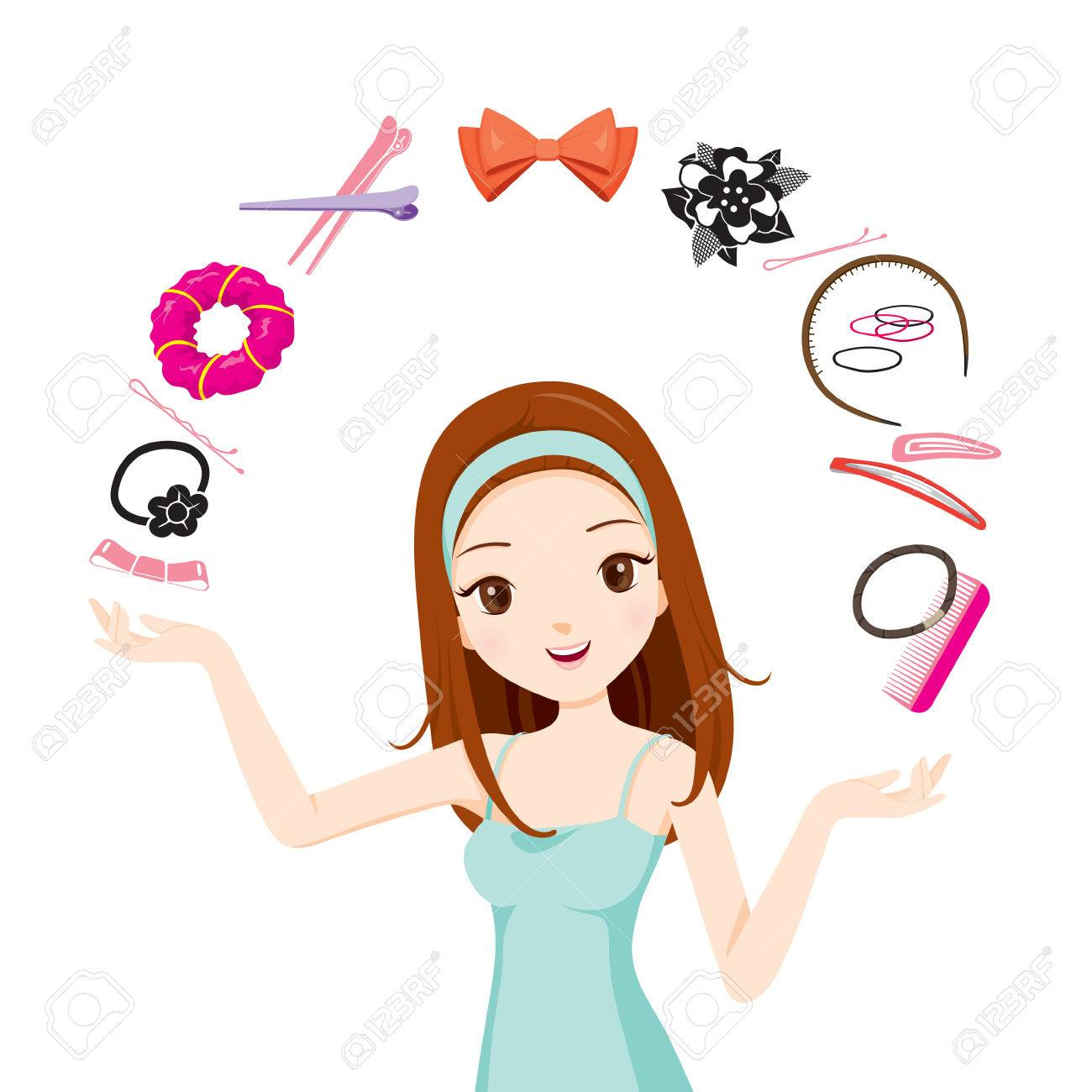 Girl With Hair Accessories Accessories Coiffure Hairdressing Royalty Free Cliparts Vectors And Stock Illustration Image 54560345