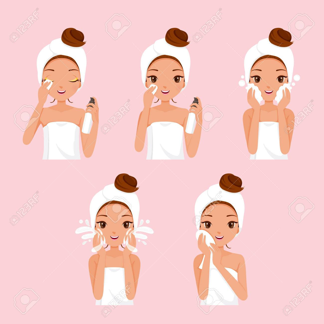 Girl Cleaning And Care Her Face With Various Actions Set, Facial, Beauty, Cosmetic, Makeup, Health, Lifestyle, Fashion - 54561074