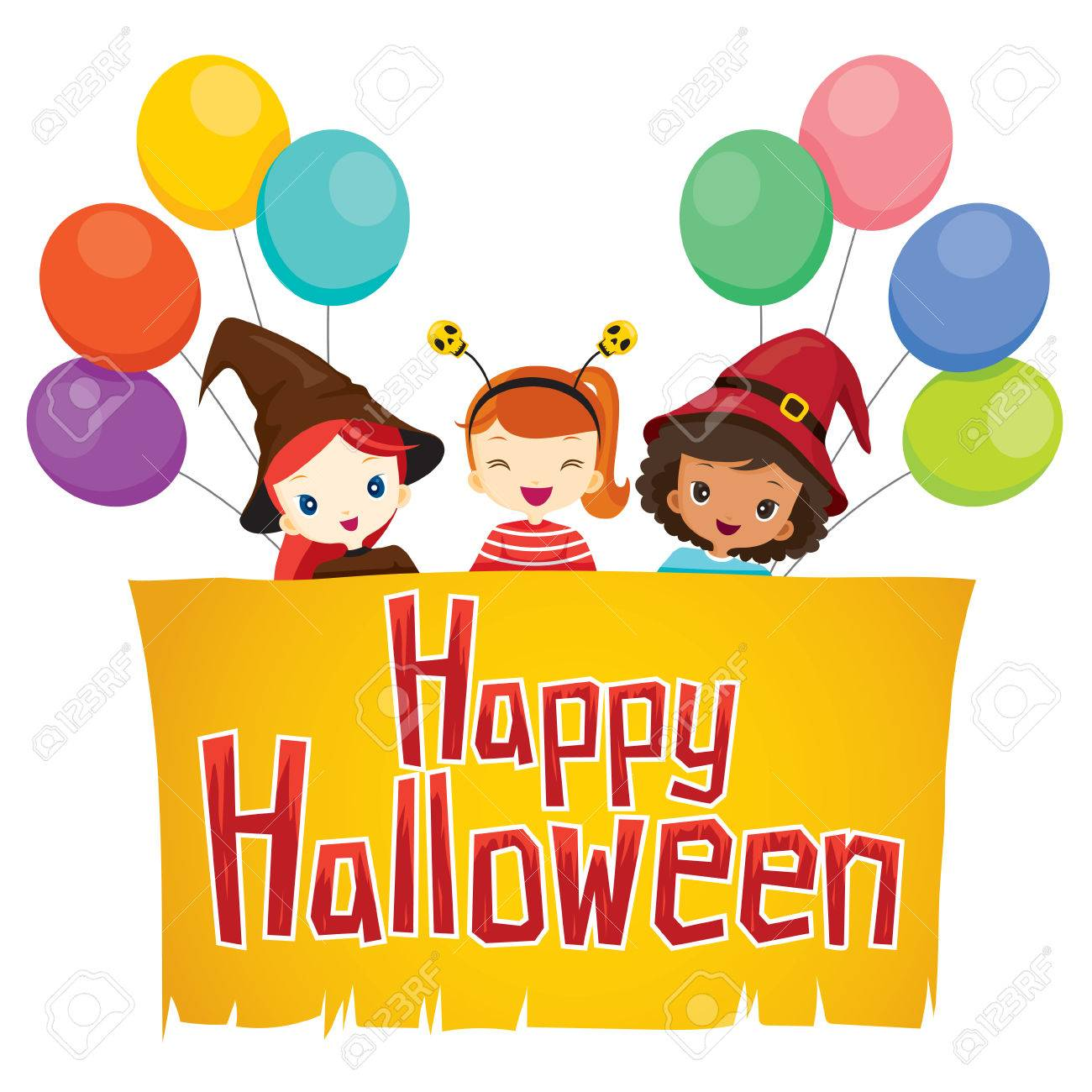 Girls With Happy Halloween Banner, Mystery, Holiday, Culture, October,  Decoration,