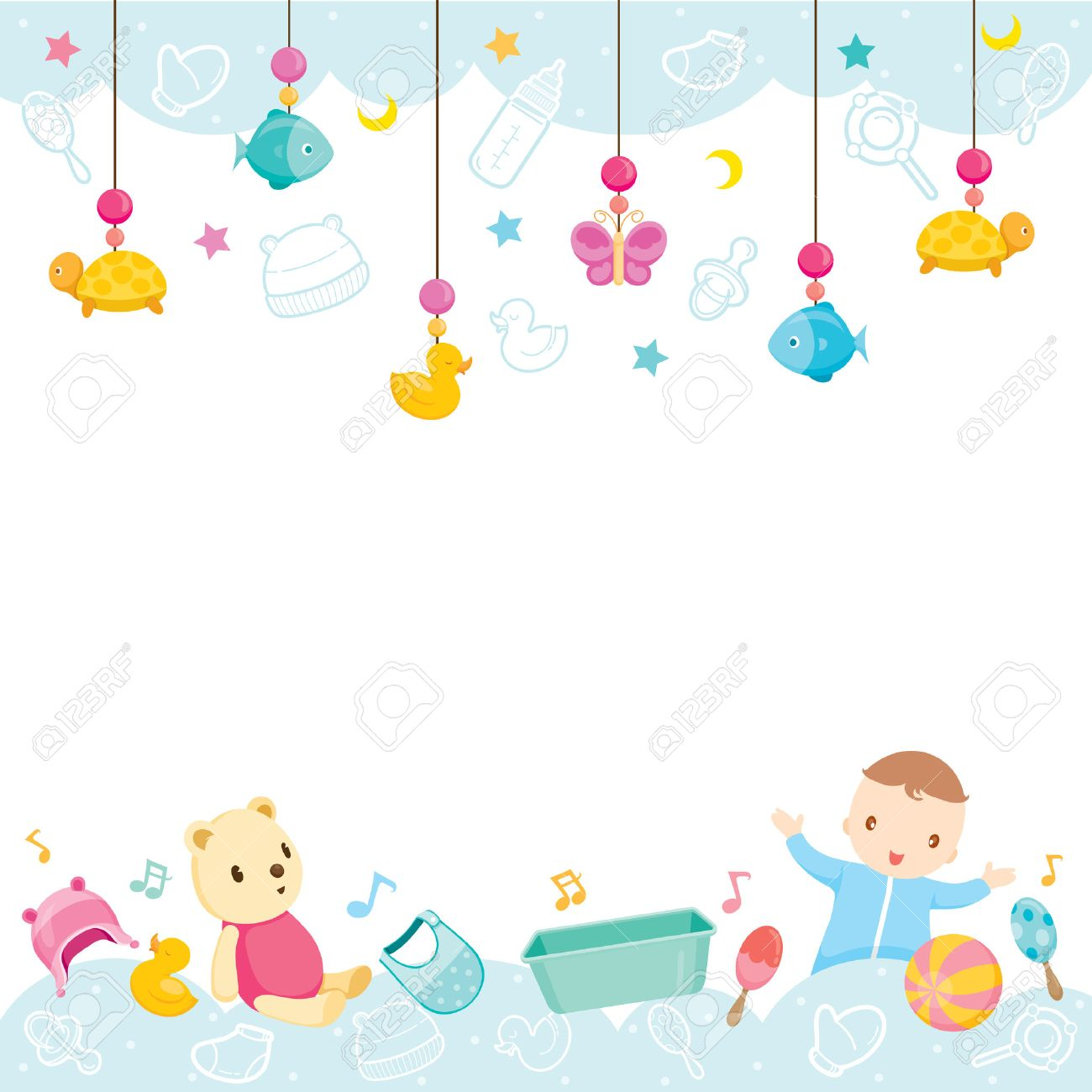 Baby Icons And Objects Background, Baby, Accessories, Frame, Hanging, Background, Border - 55425108