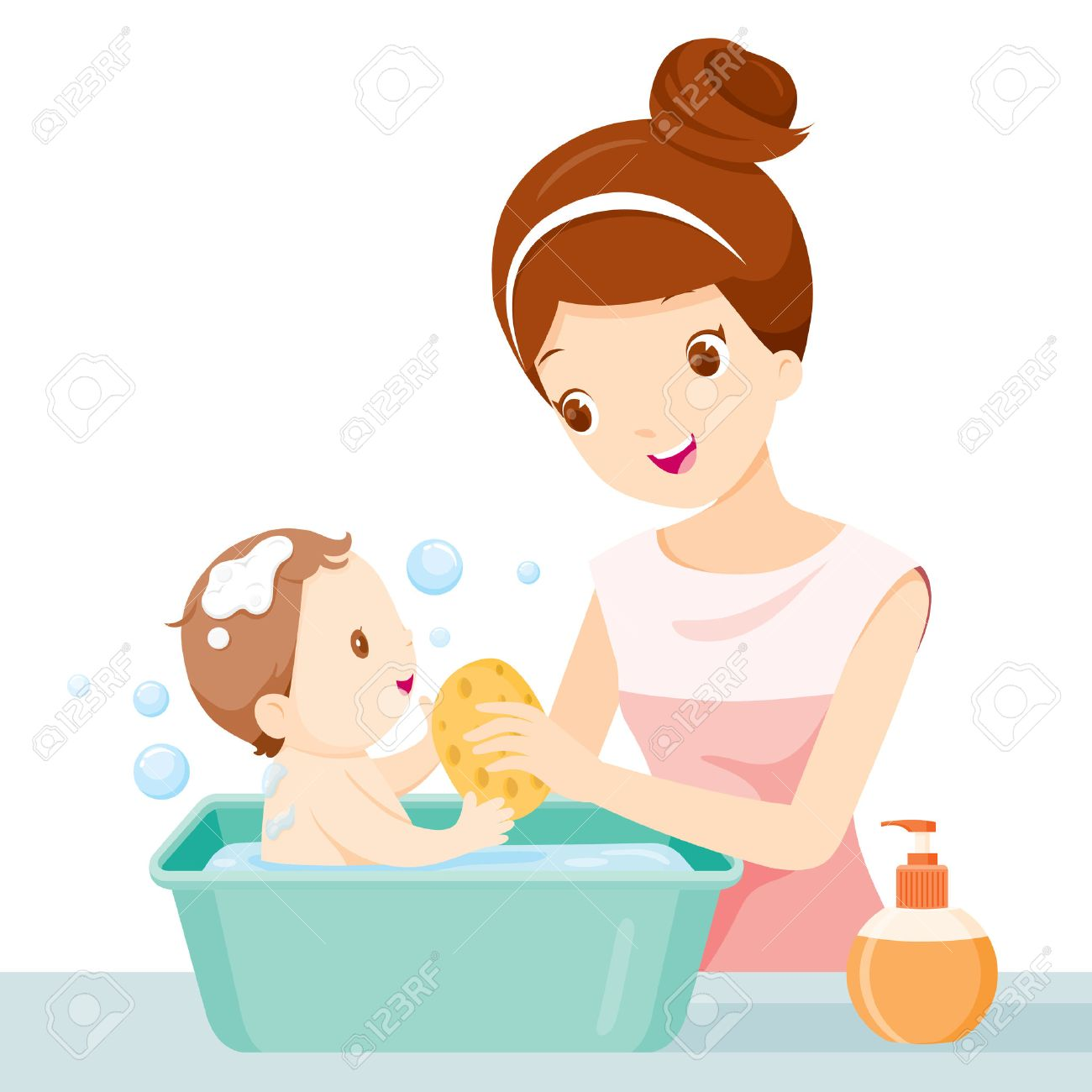 Mother Washing Baby Mother Baby Bathing Washing Mother S Royalty Free Cliparts Vectors And Stock Illustration Image 55425117