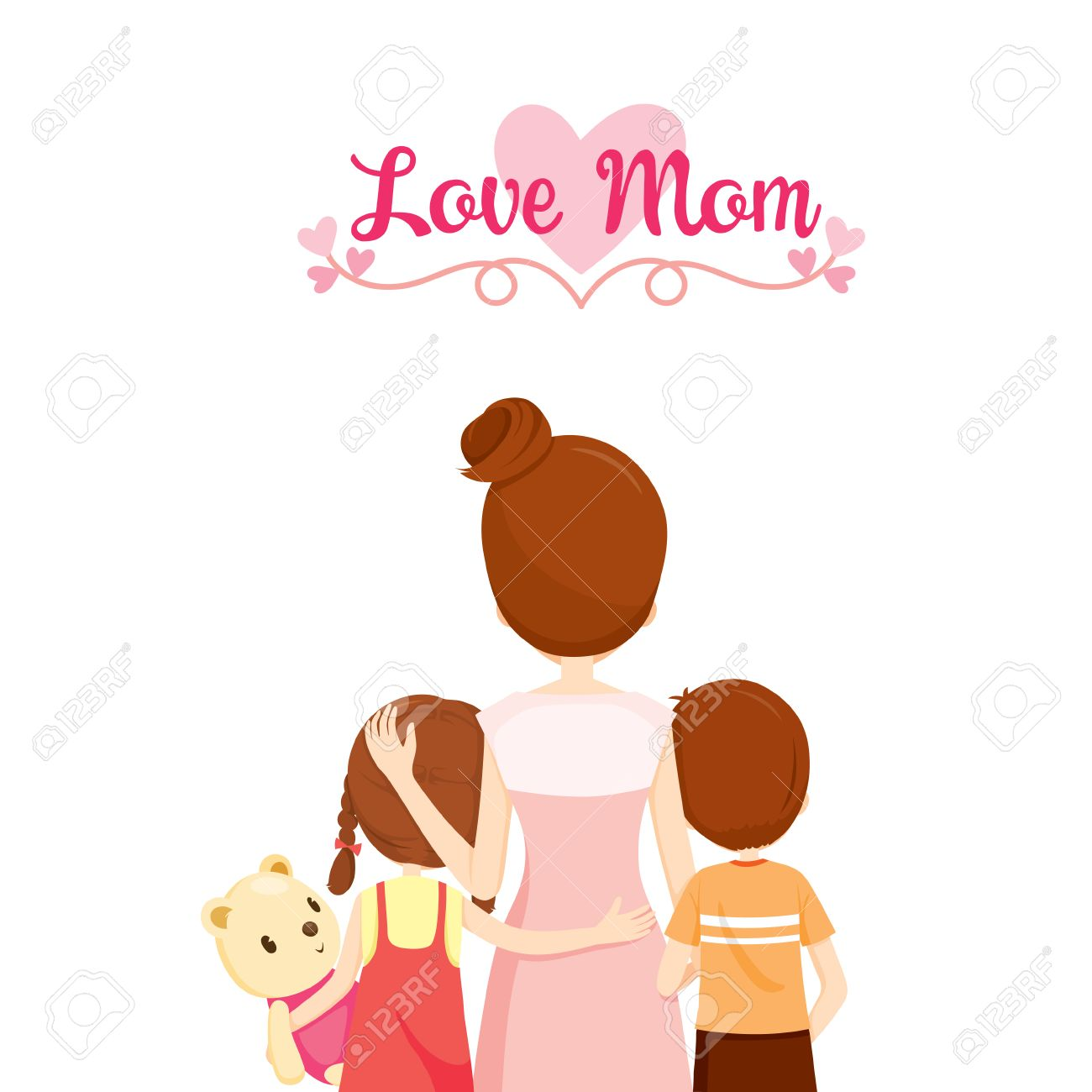 Madre Hijo E Hija Abrazos Juntos Familia Abrazar Abrazos Padres