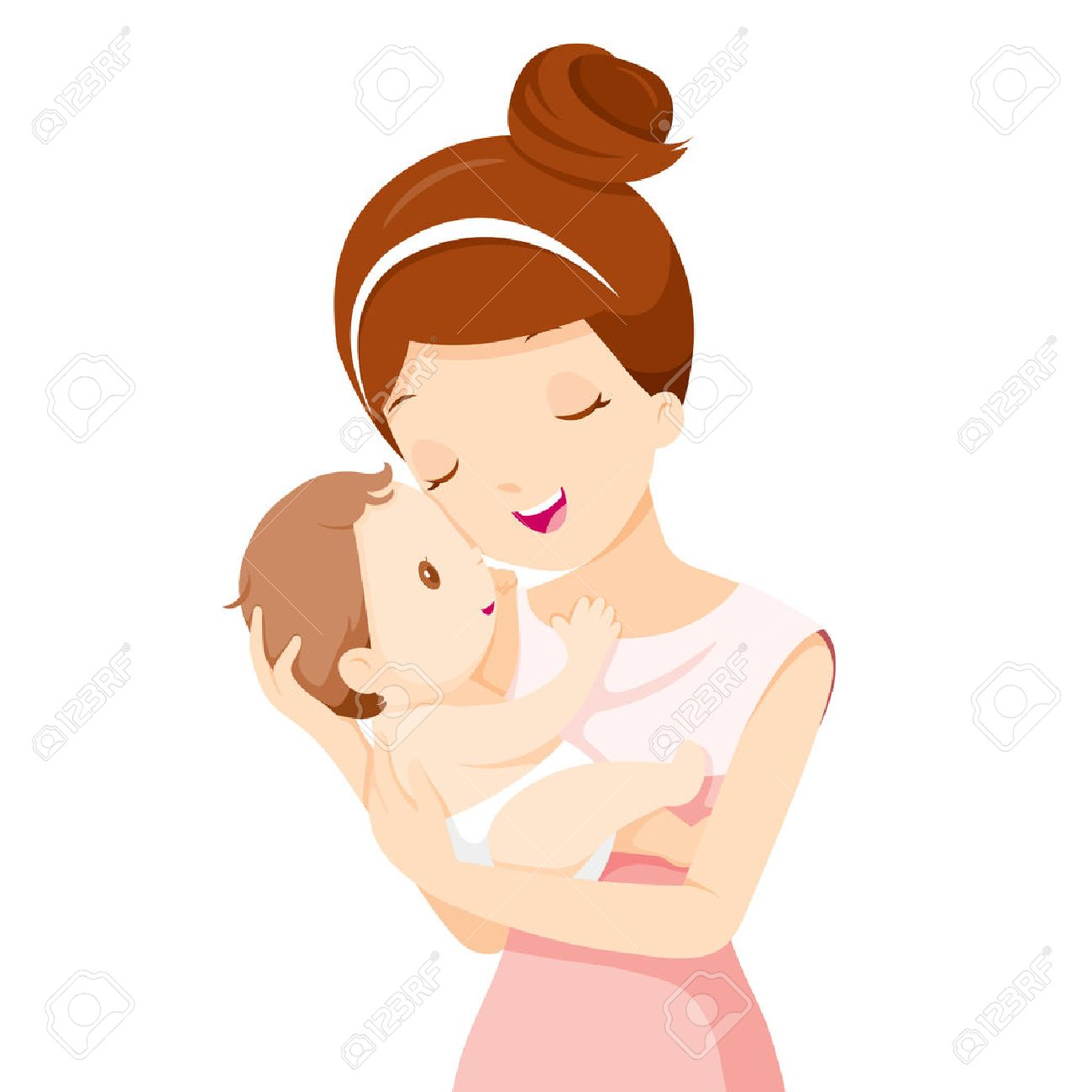 Baby In A Tender Embrace Of Mother, Mother's day, Mother, Baby, Infant, Motherhood, Love, Innocence - 55425128