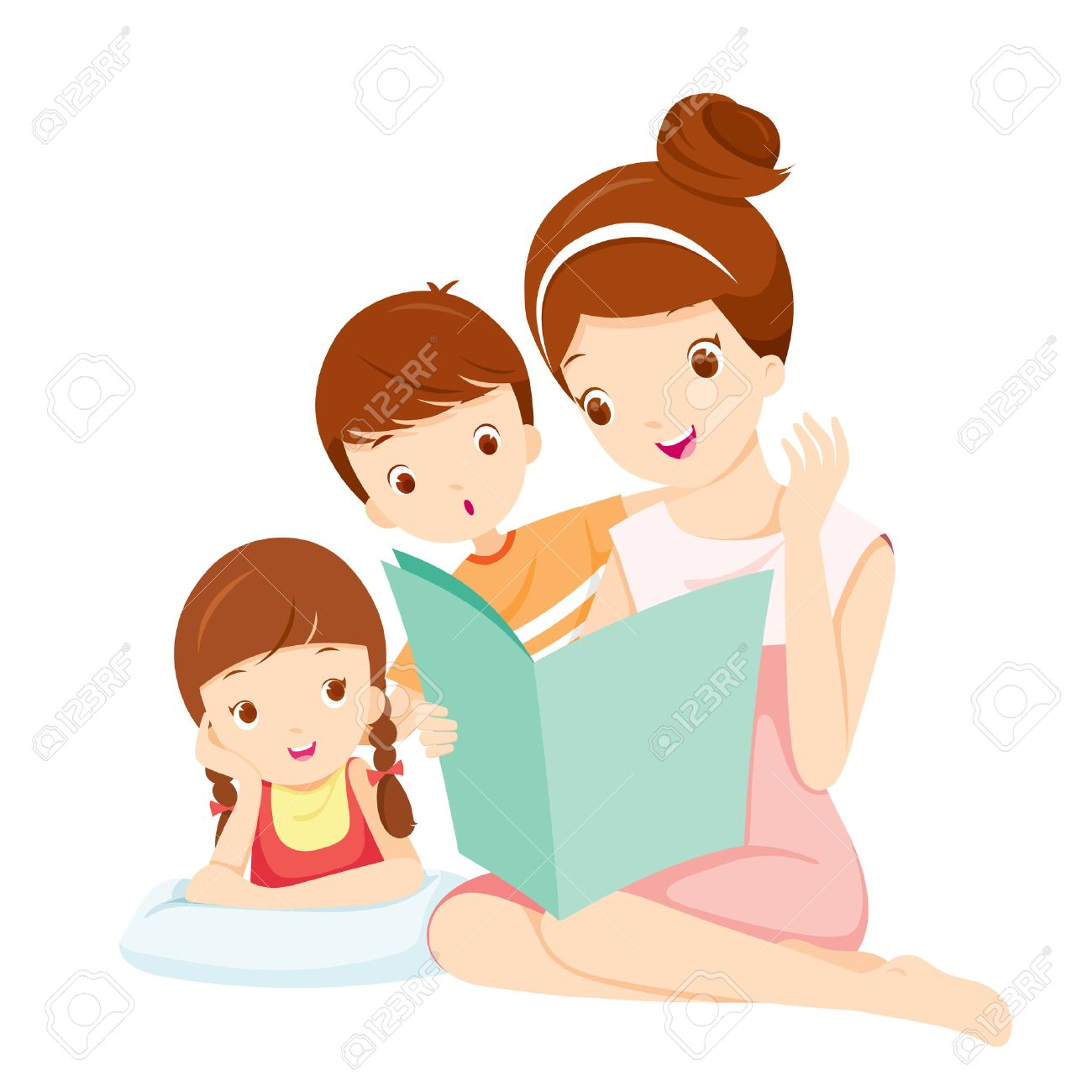 mother reading tale book to daughter and son mother mother s rh 123rf com Parade Clip Art Parade Clip Art