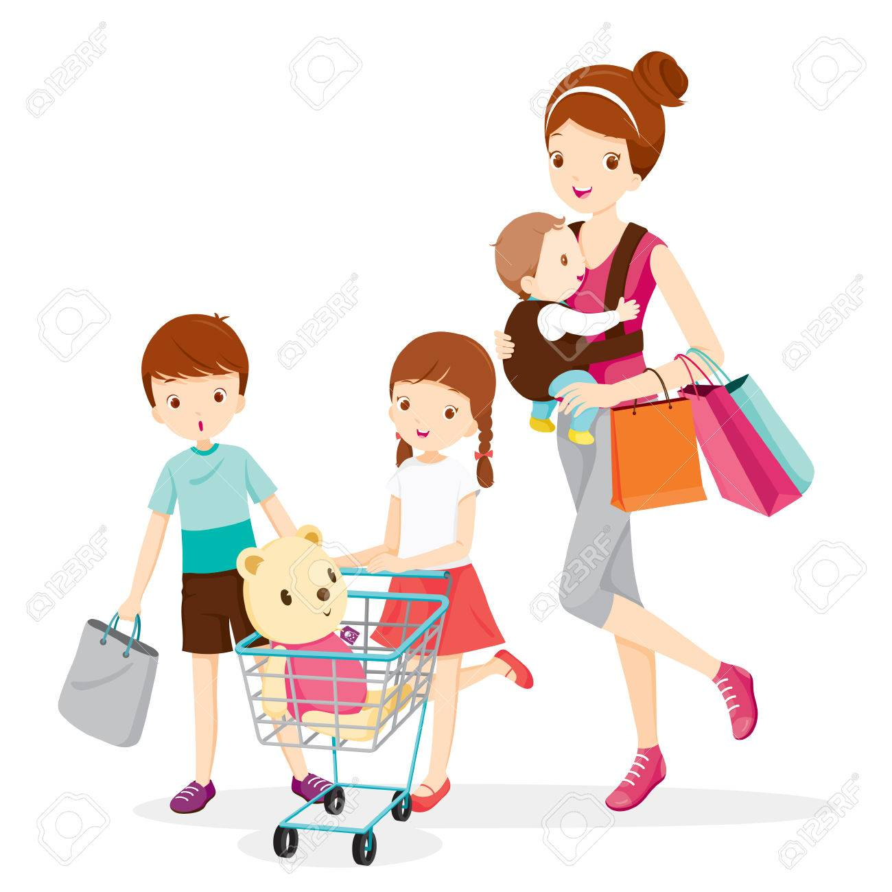 Mother And Children Shopping Together, Mother, Shopping, Retail, Family, Child, Shopping Cart, Pushcart, Trolley, Shopping Bag - 55425130