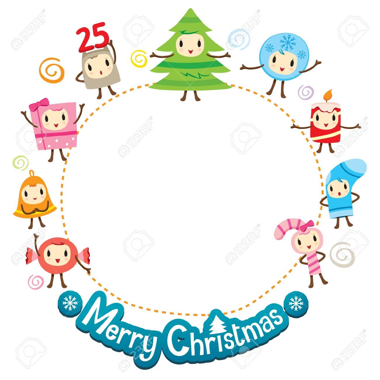Adornos De Navidad Diseño De Personajes En Marco De Círculo, Feliz ...