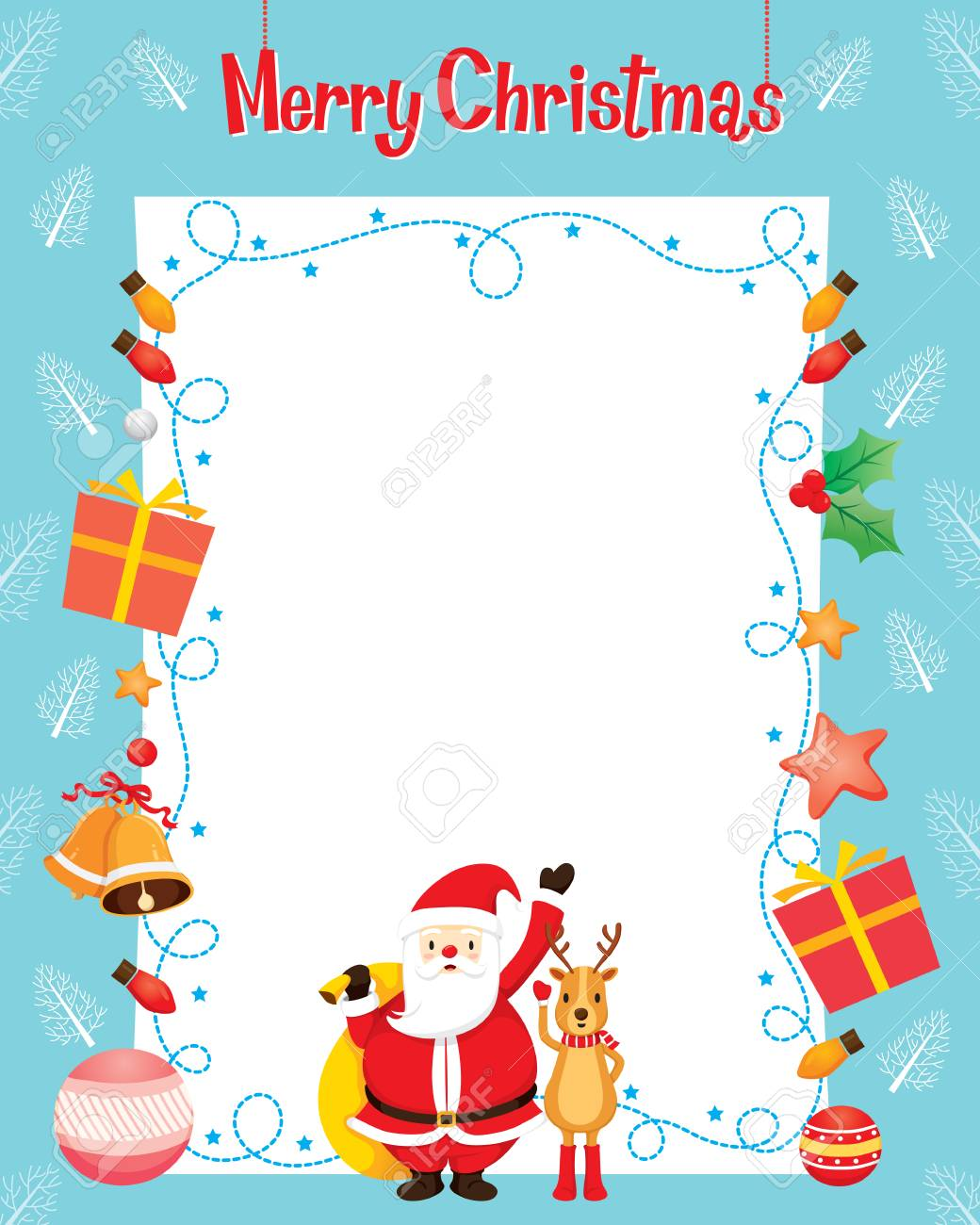 Santa And Reindeer With Christmas Ornaments Decoration Border,..