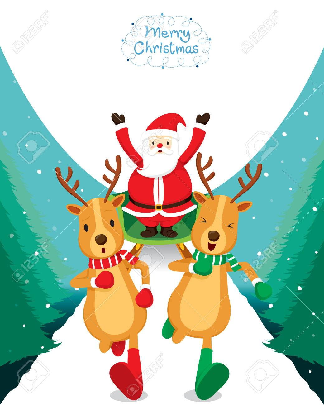 Reindeer Running With Santa Claus, Merry Christmas, Xmas, Happy..