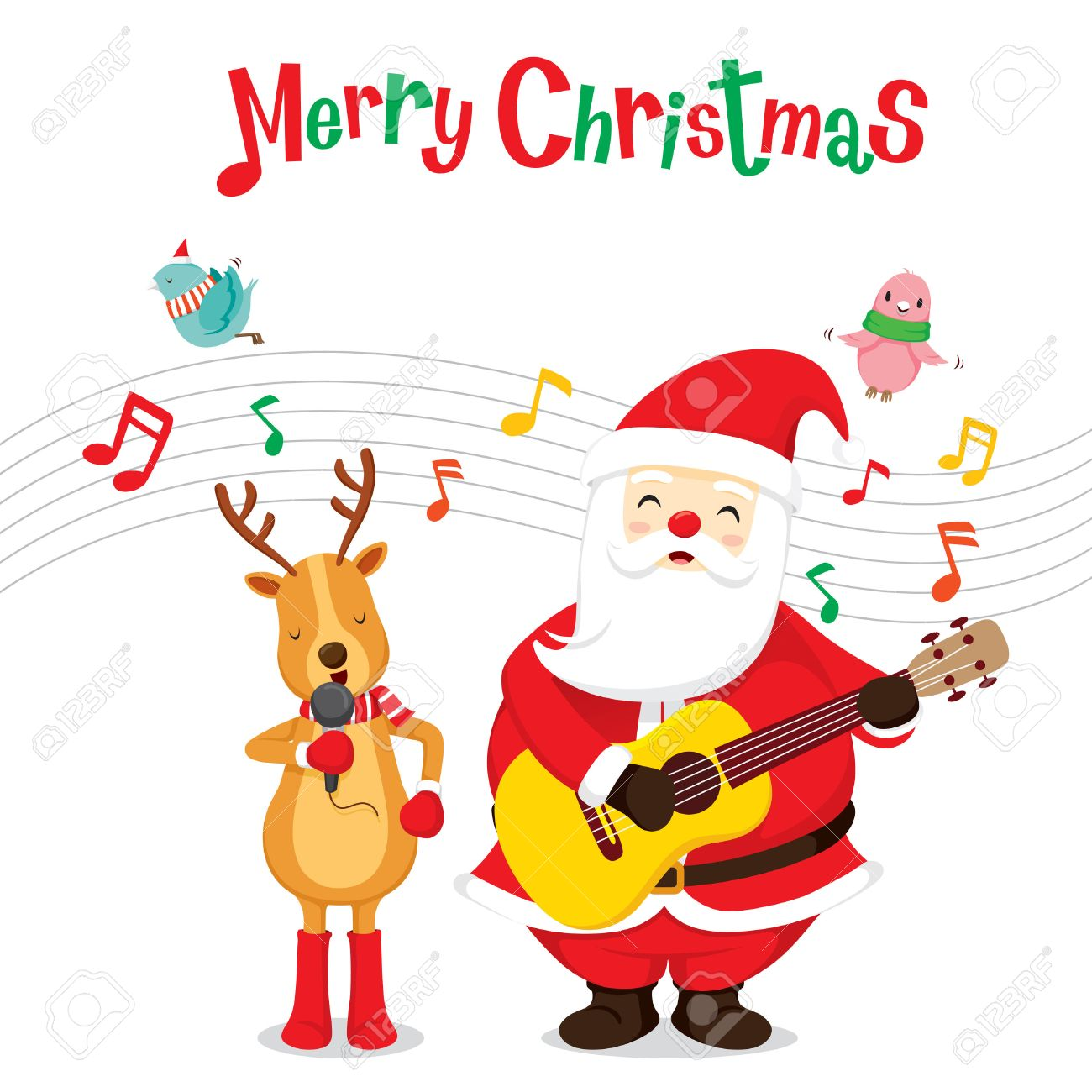 Reindeer And Santa Claus Singing And Playing Guitar, Merry Christmas ...