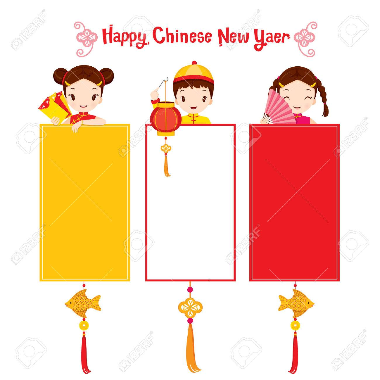 children with chinese new year banner traditional celebration china happy chinese new year