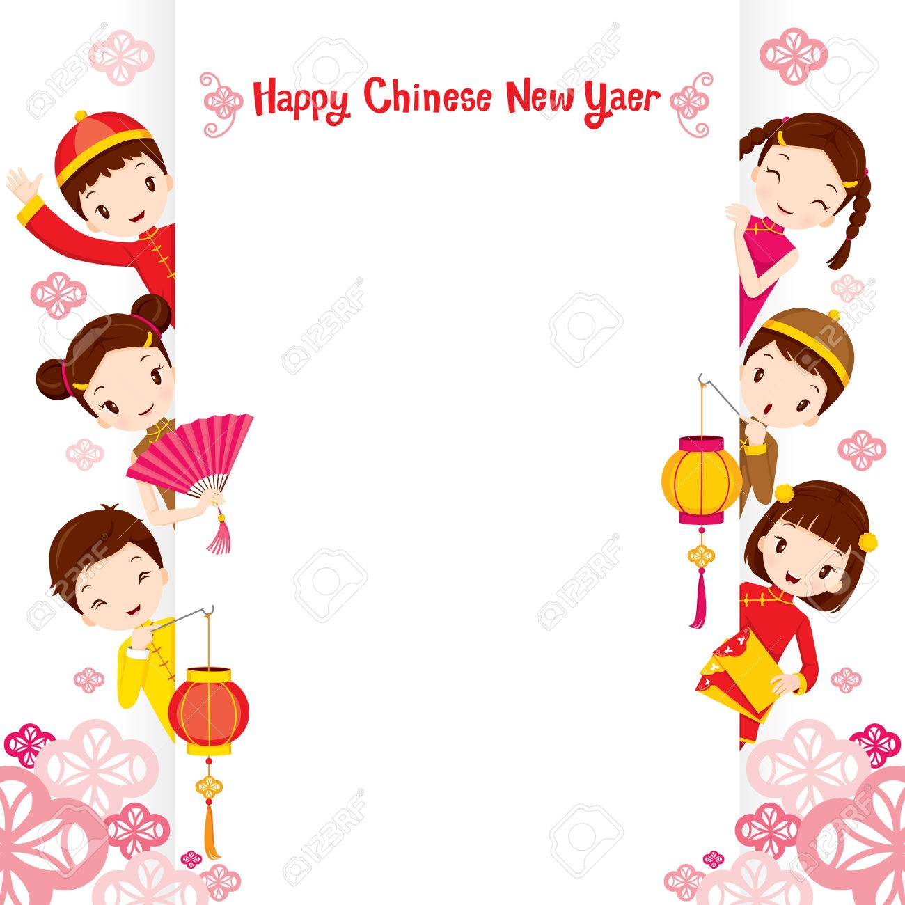 chinese children on frame traditional celebration china happy chinese new year stock vector