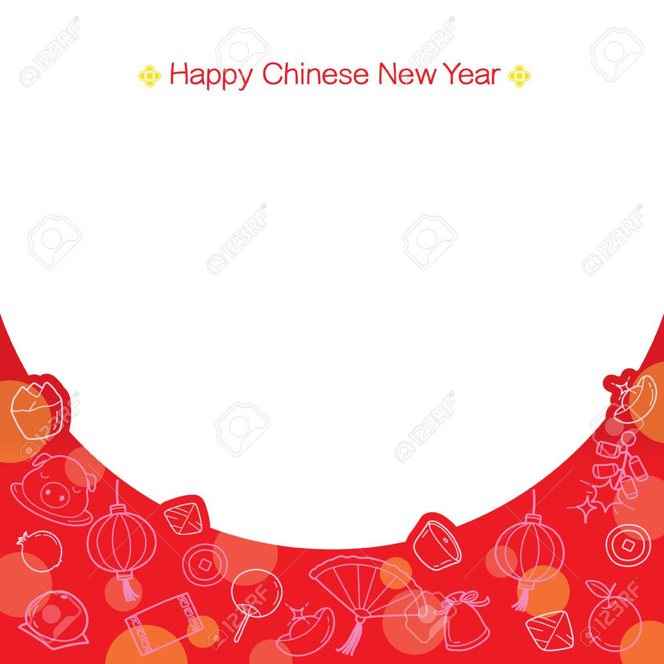 Chinese New Year Frame With Outline Icons , Traditional Celebration ...