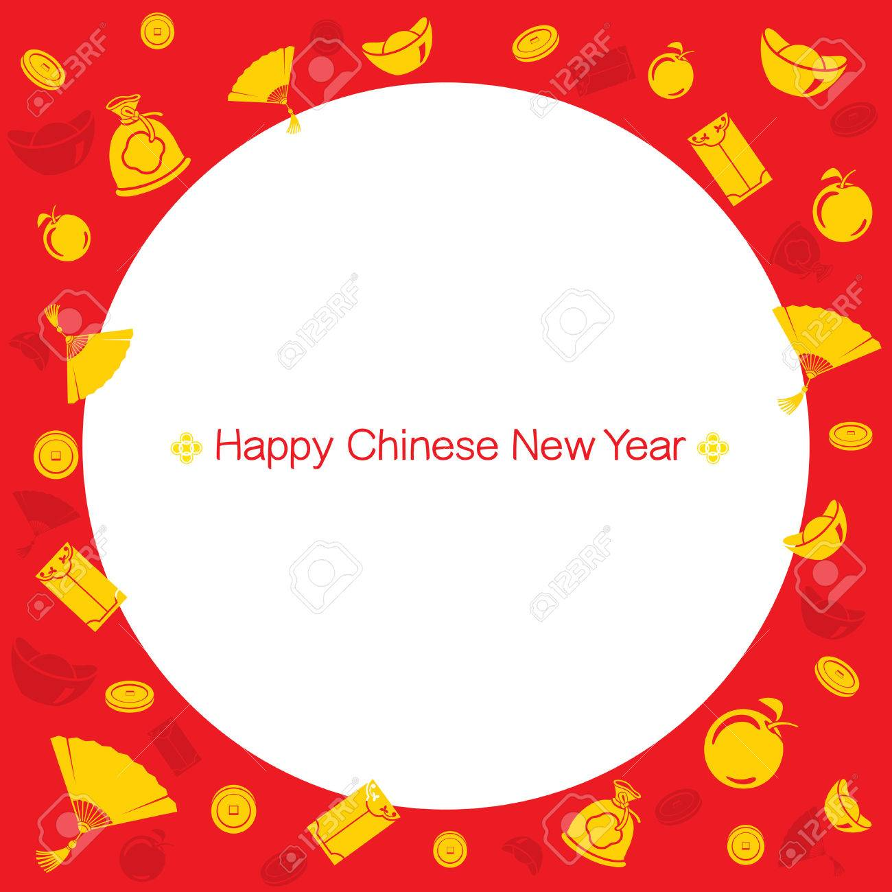 chinese new year border with icons traditional celebration china happy chinese new year