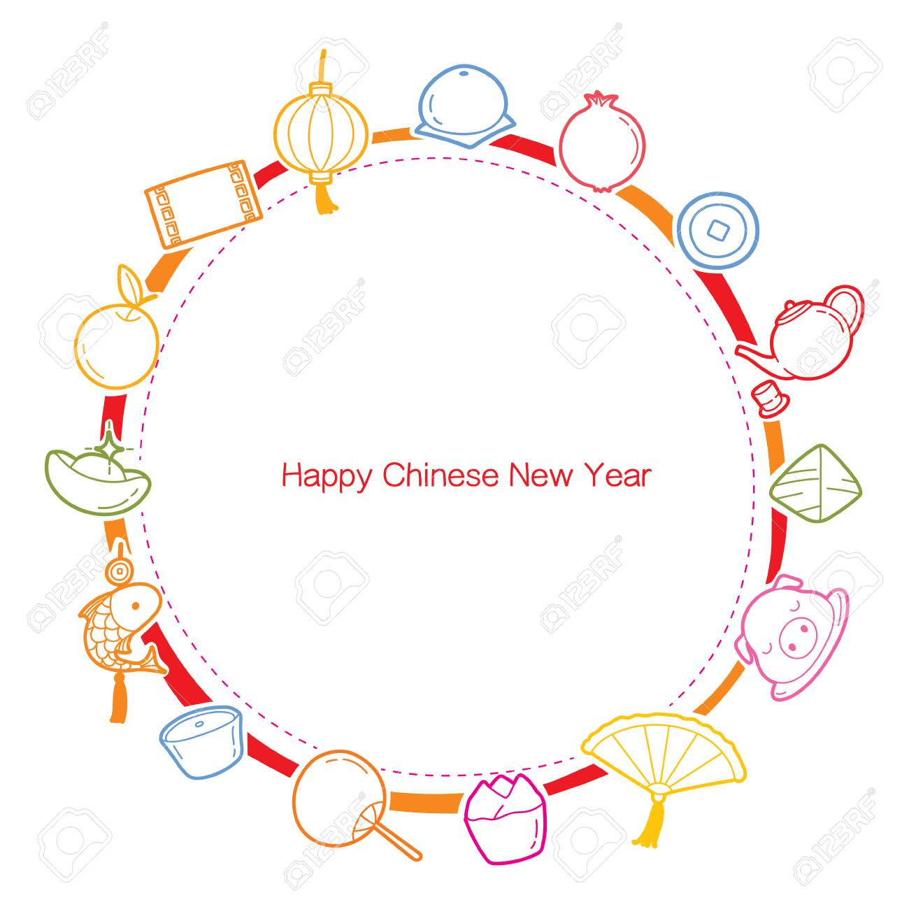 Chinese new year outline icons set on round frame traditional chinese new year outline icons set on round frame traditional celebration china happy jeuxipadfo Image collections