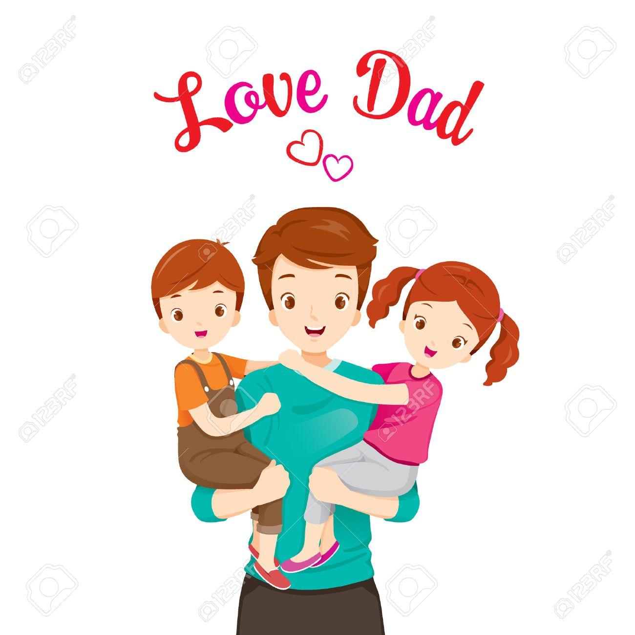 02f3dc80247d3 Vettoriale - Padre Portando Figlio E Figlia