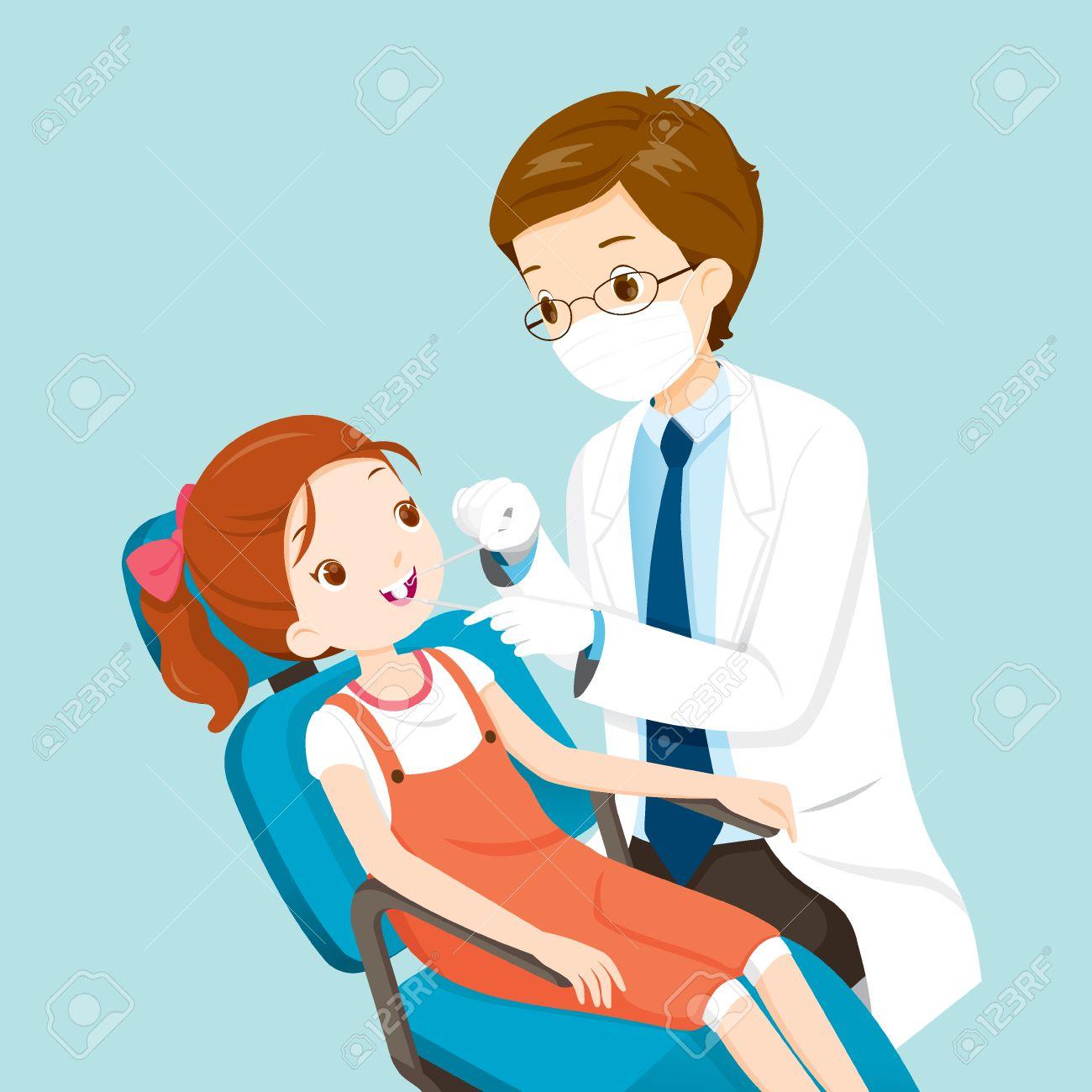 Dentist And Cute Girl On Dental Chair Medical Dentistry Hospital Checkup
