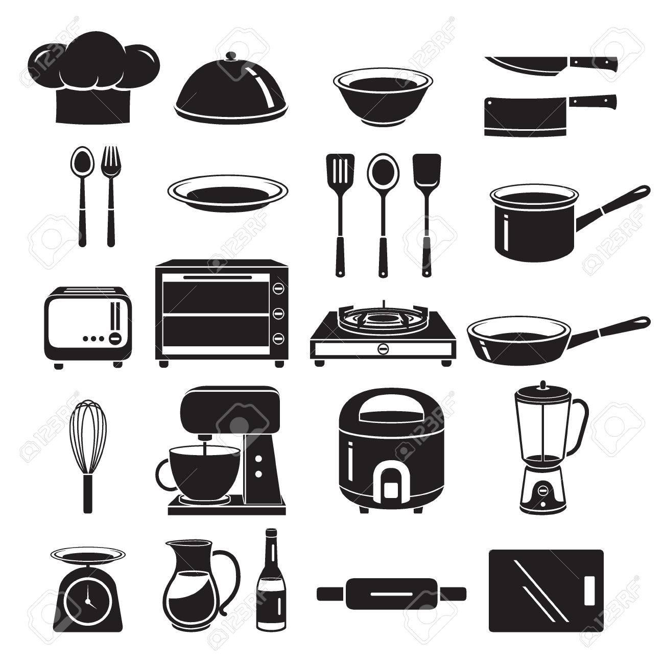 en stock 60e32 95556 Quipement de cuisine Icons Set, Monochrome, appareils ménagers, Vaisselle,  Cuisine, Cuisine, Aliment, Boulangerie