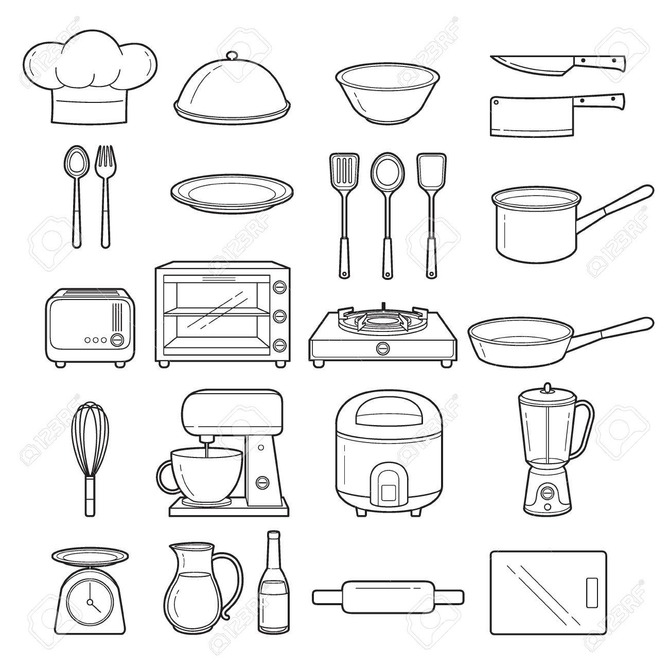 Kitchen Equipment Outline Icons Set Appliance Crockery Cooking