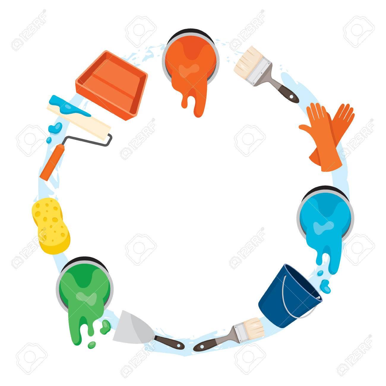 Painter Werkzeuge Objekte Symbole Auf Kreis-Rahmen, Ausrüstung ...