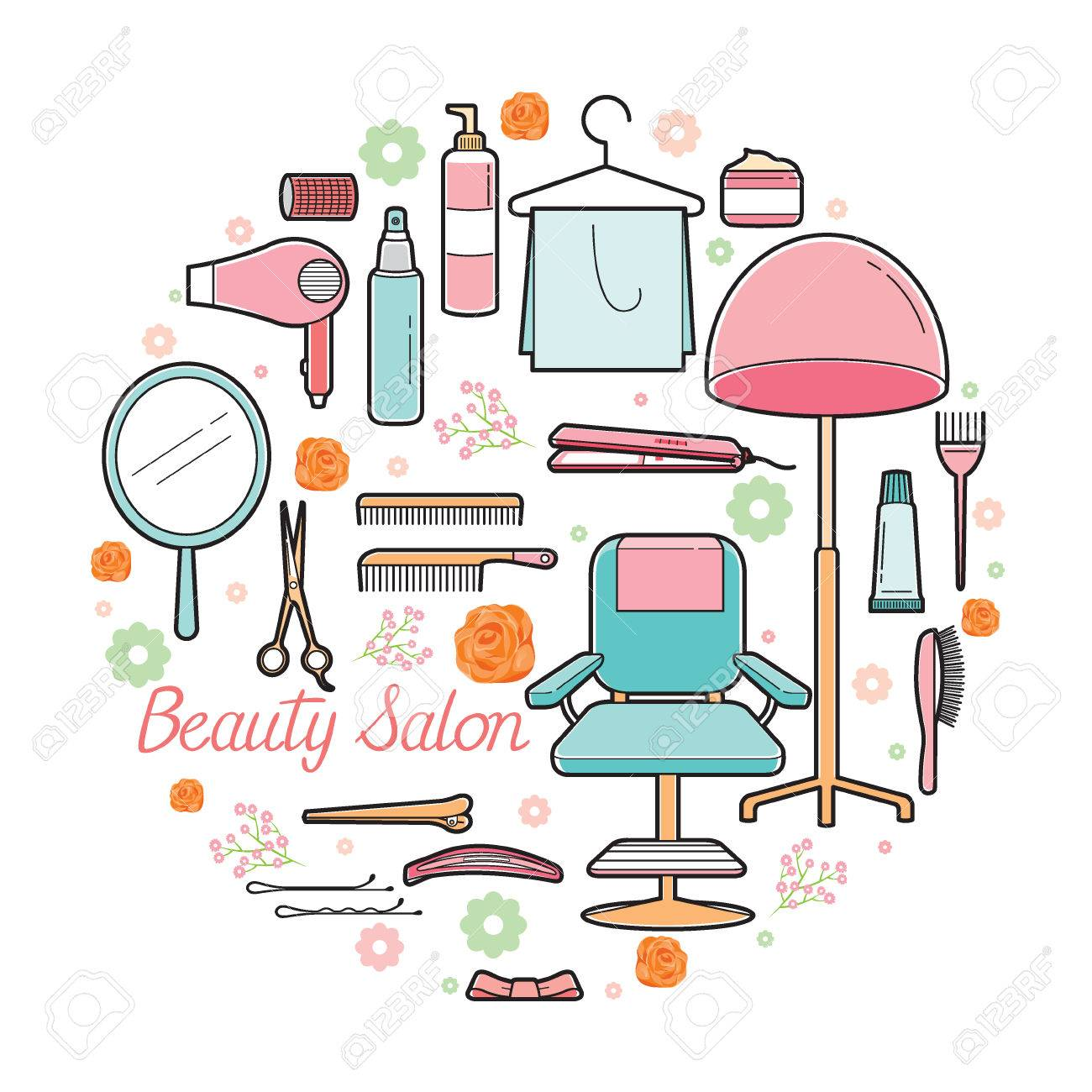 Hair Salon Equipments Set Accessories Equipment Hairdressing Royalty Free Cliparts Vectors And Stock Illustration Image 61980115