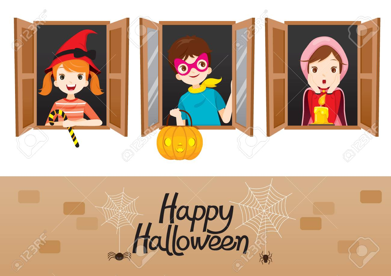 Children On Window Happy Halloween, Mystery, Holiday, Trick Or Treat,  Culture,