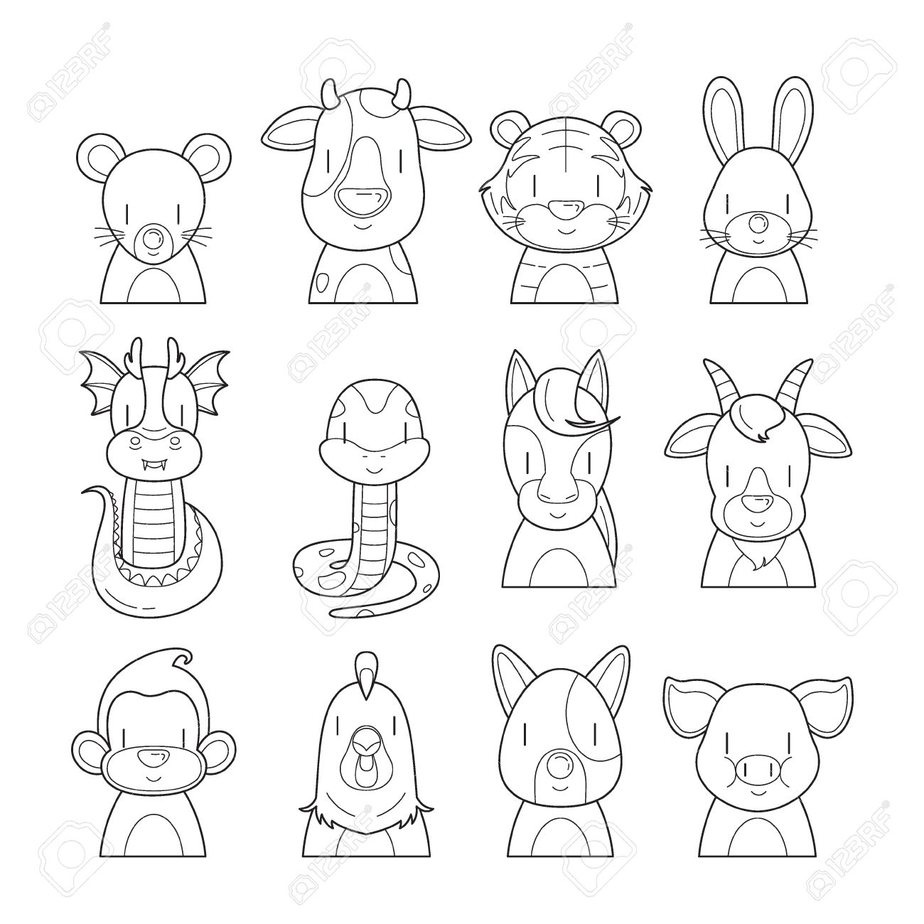 12 animals chinese zodiac signs outline icons set horoscope 12 animals chinese zodiac signs outline icons set horoscope astrological constellation eastern buycottarizona Image collections