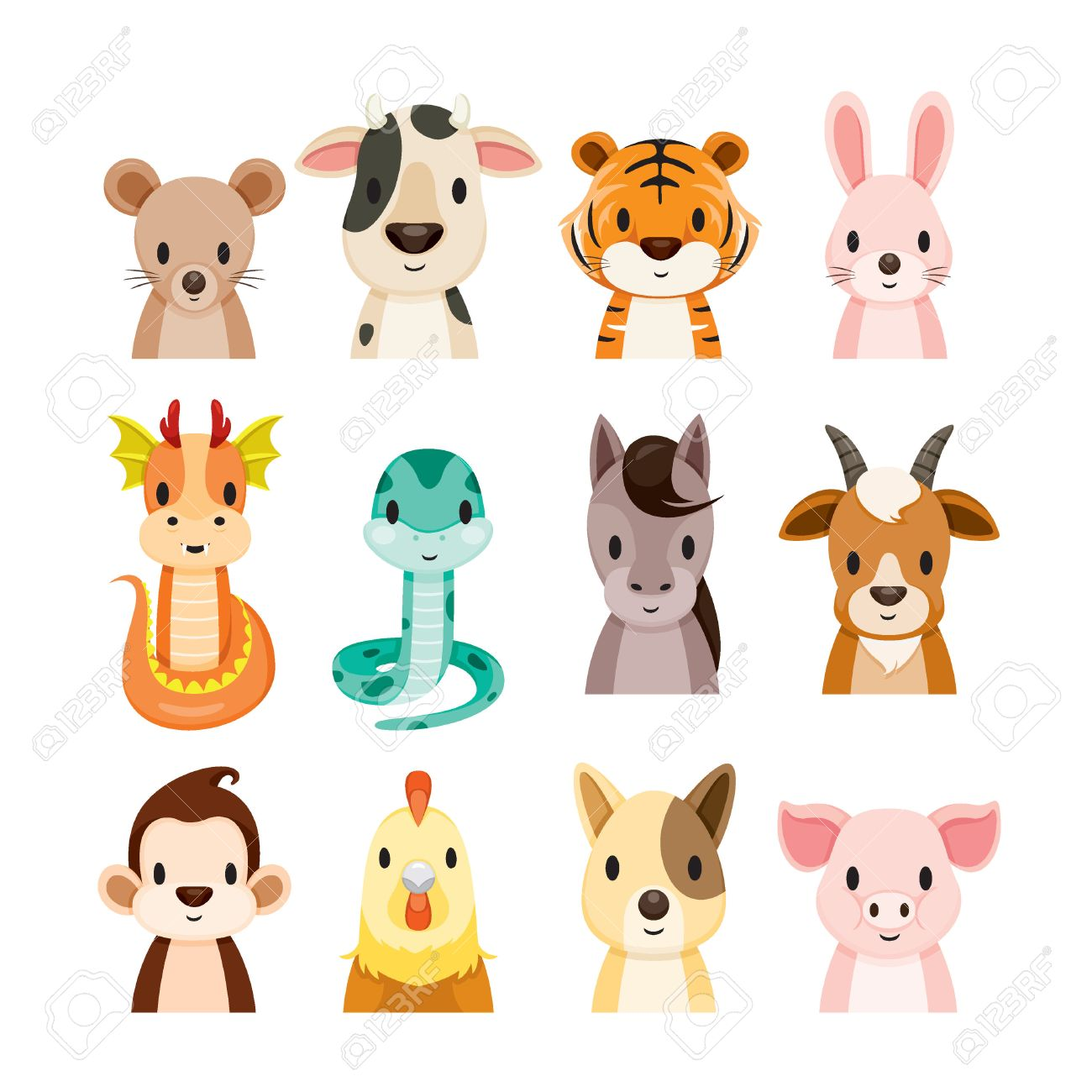 12 animals chinese zodiac signs icons set horoscope astrological 12 animals chinese zodiac signs icons set horoscope astrological constellation eastern buycottarizona Image collections