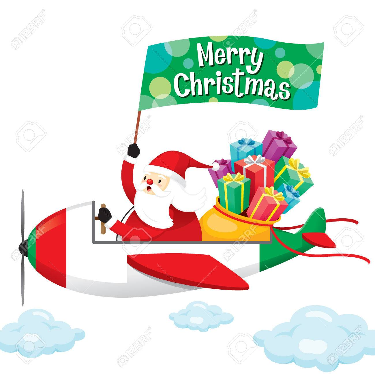 Frohe Weihnachten Flugzeug.Stock Photo