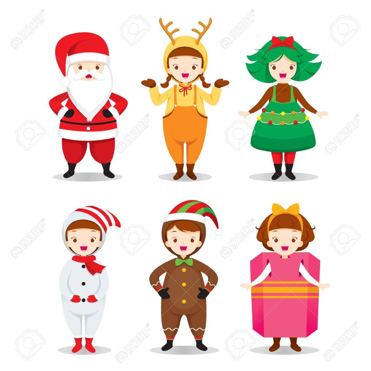 Kids Wearing Christmas Costumes Set, Xmas, Happy New Year, Clothing ...