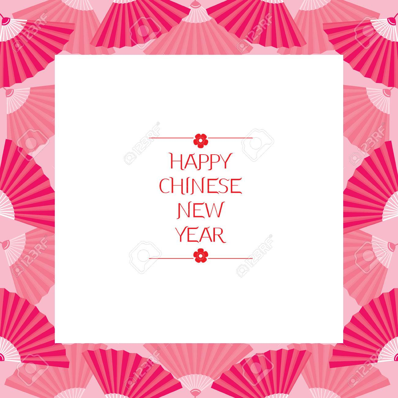 chinese new year border with fan traditional celebration china frame stock vector