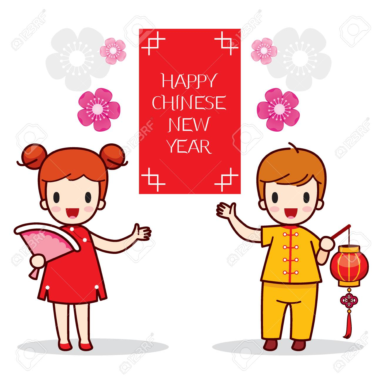 boy and girl with happy chinese new year banner traditional celebration china children
