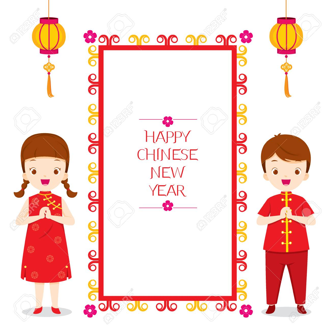 happy chinese new year frame with children traditional celebration china border stock vector