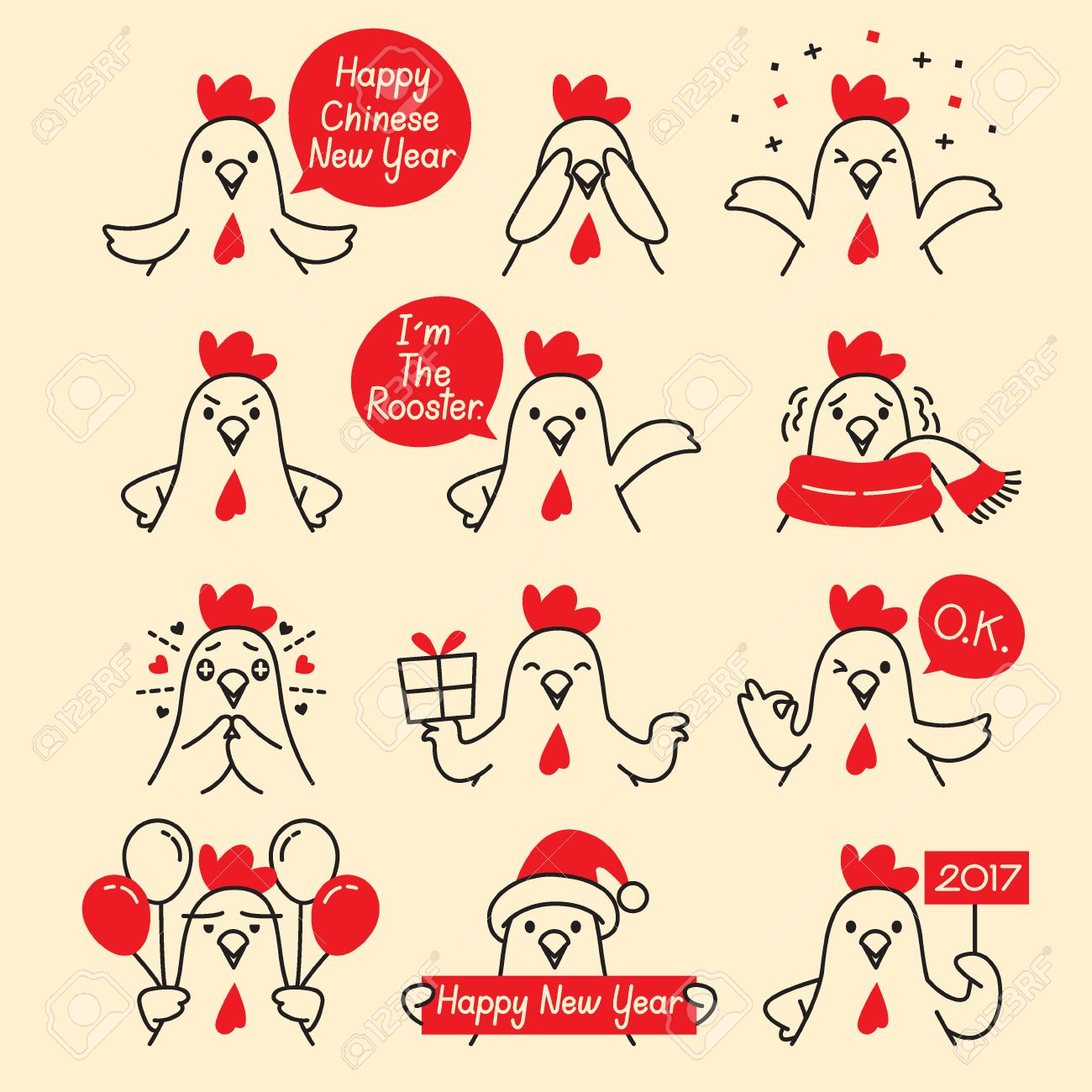 rooster emoticons icons set traditional celebration happy new year china emoji - Chinese New Year Emoji