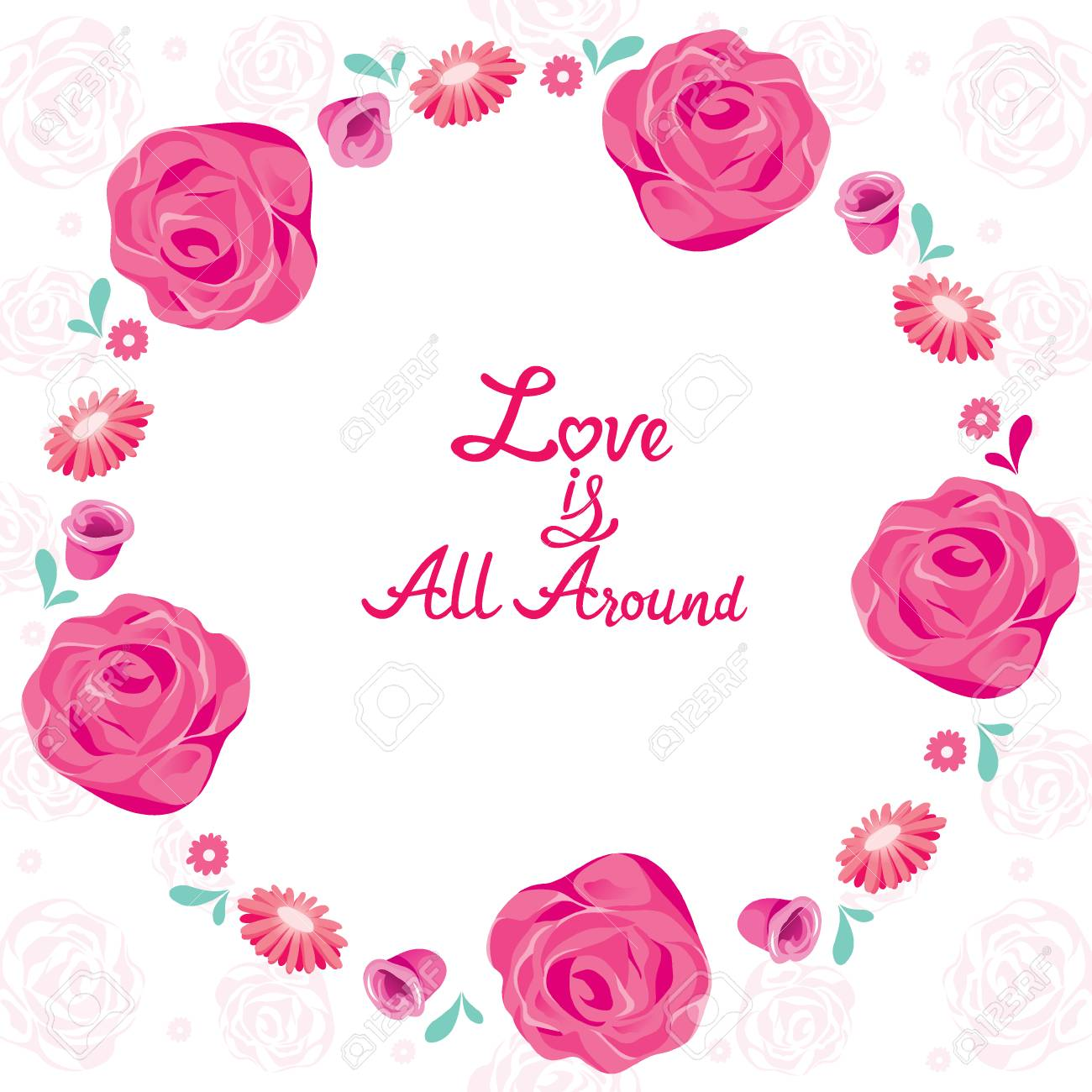 Floral Border With Love Is All Around Lettering, Frame, Pattern ...