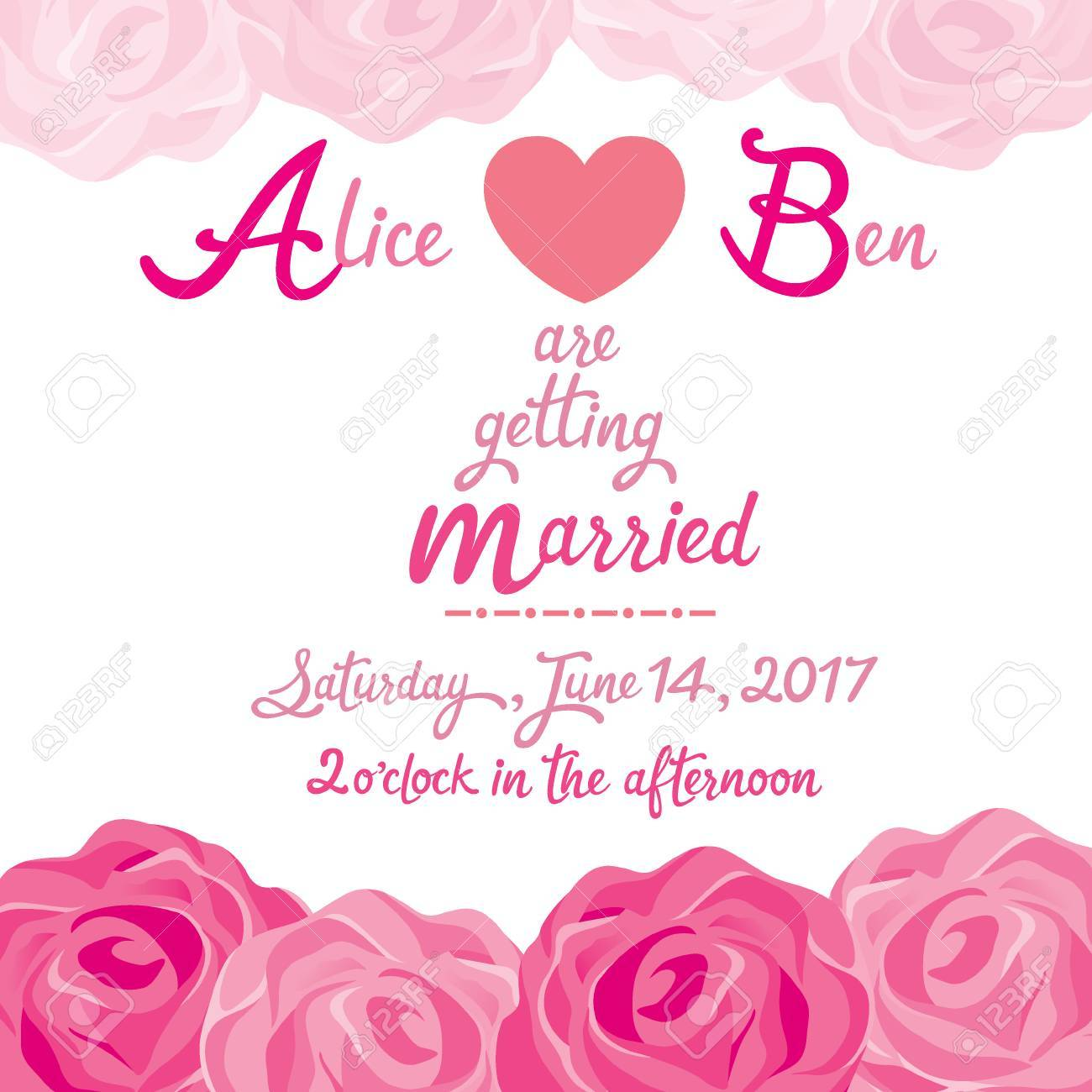 Wedding Invitation Card Template With Rose Frame Love Relationship