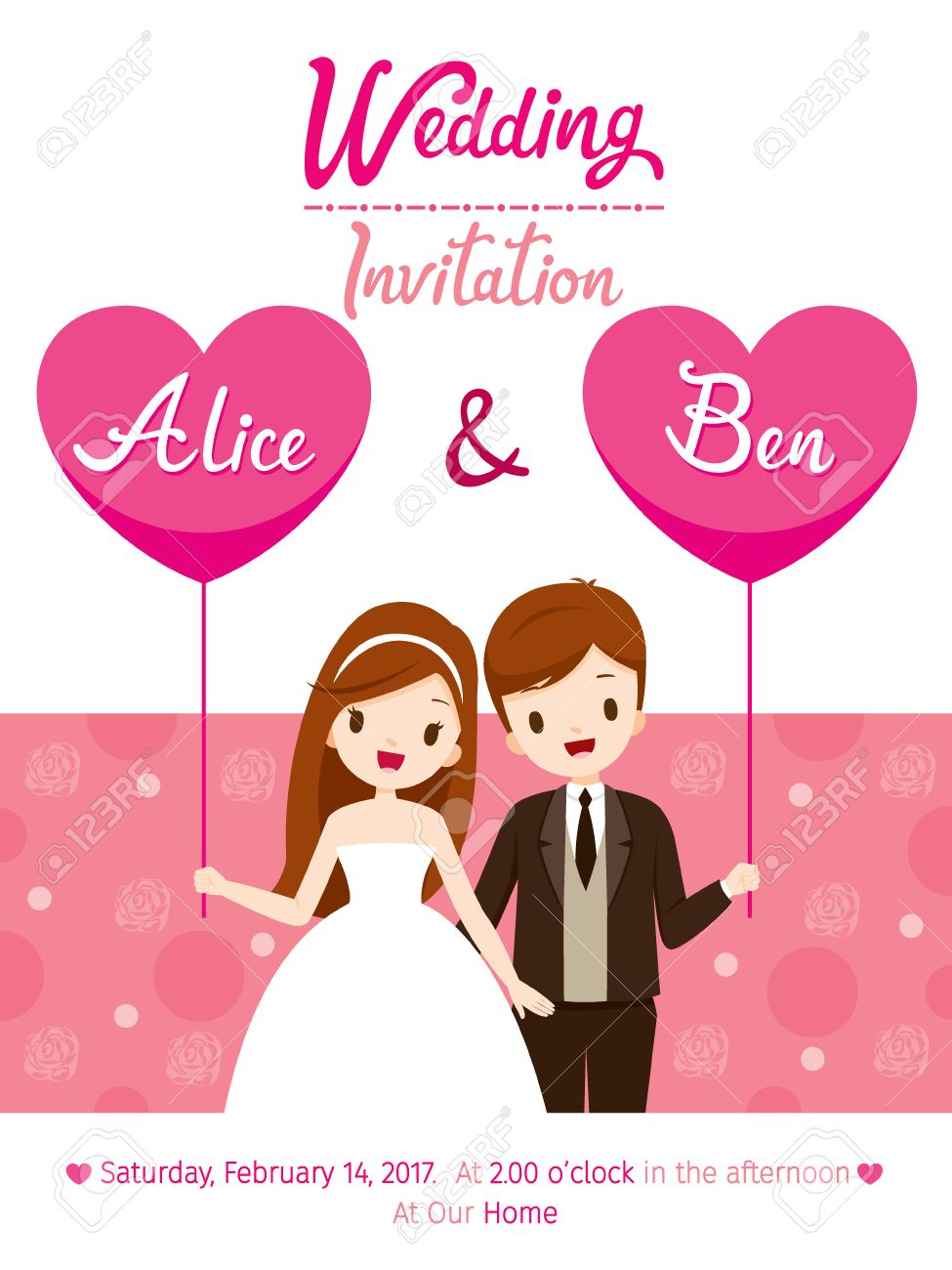 Wedding Invitation Card Template, Bride And Groom, Love, Relationship, Sweetheart, Engagement, Valentine's Day - 69082738
